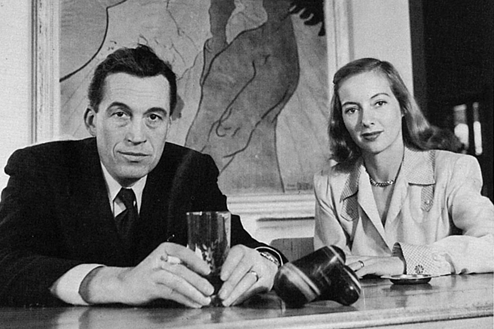 John Huston and Evelyn Keyes with Magatama