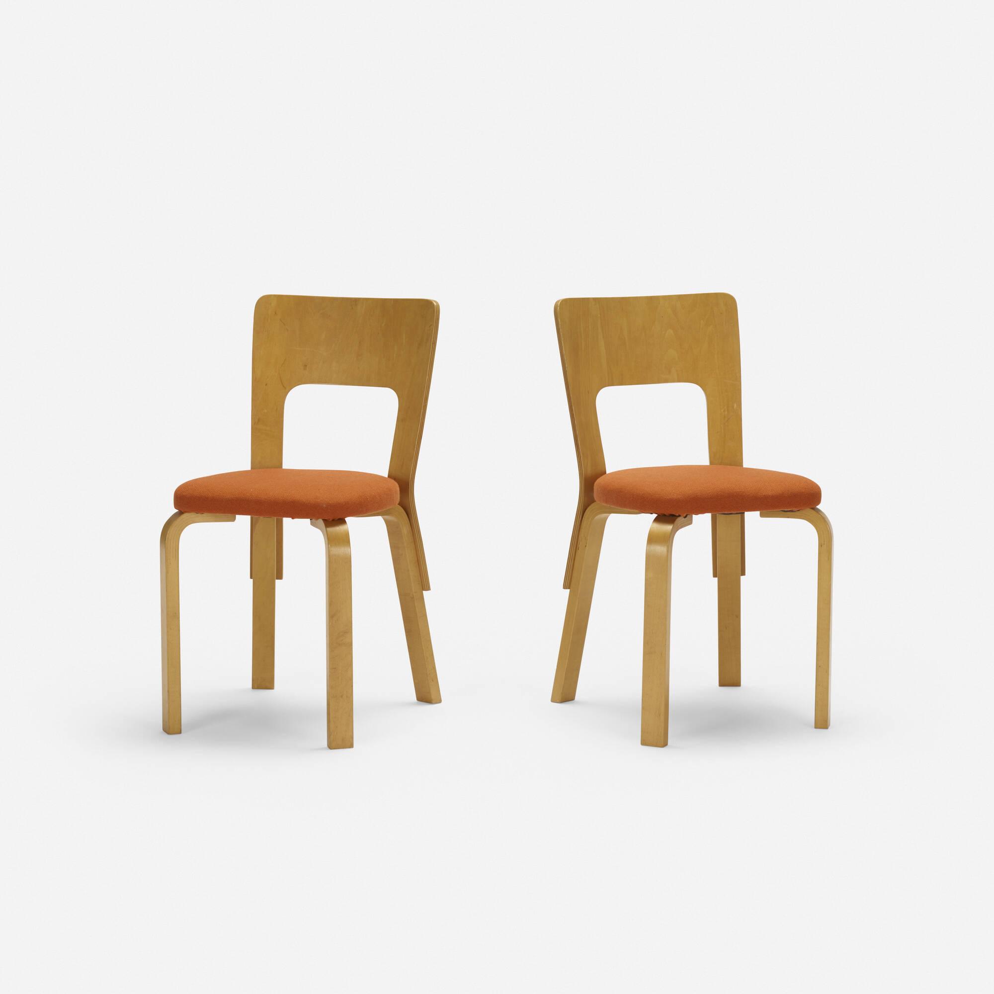 100: Alvar Aalto / Chairs Model 66, Pair (1 Of 3)
