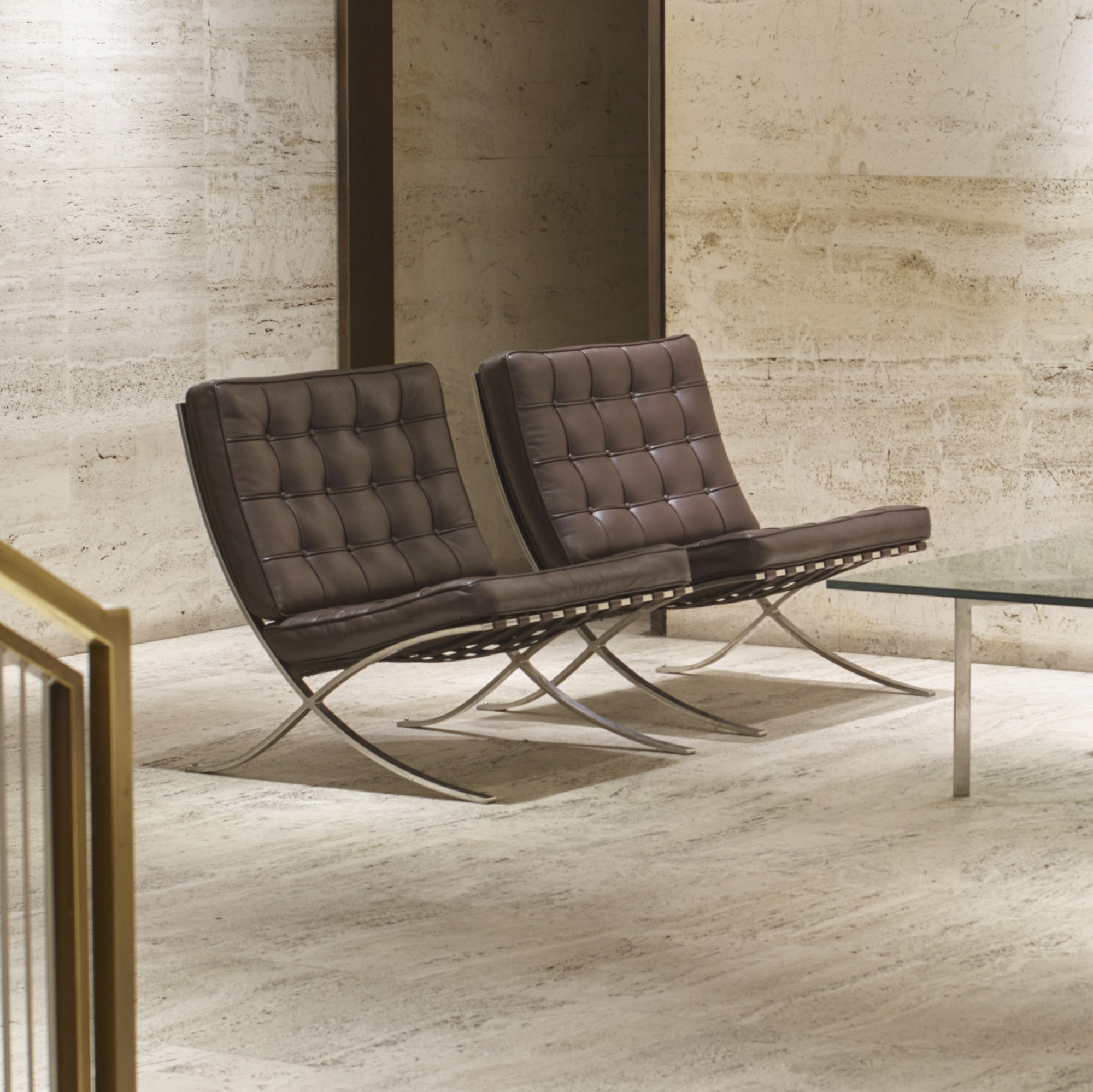 101: Ludwig Mies Van Der Rohe / Barcelona Chairs From The Entrance Lobby Of  The