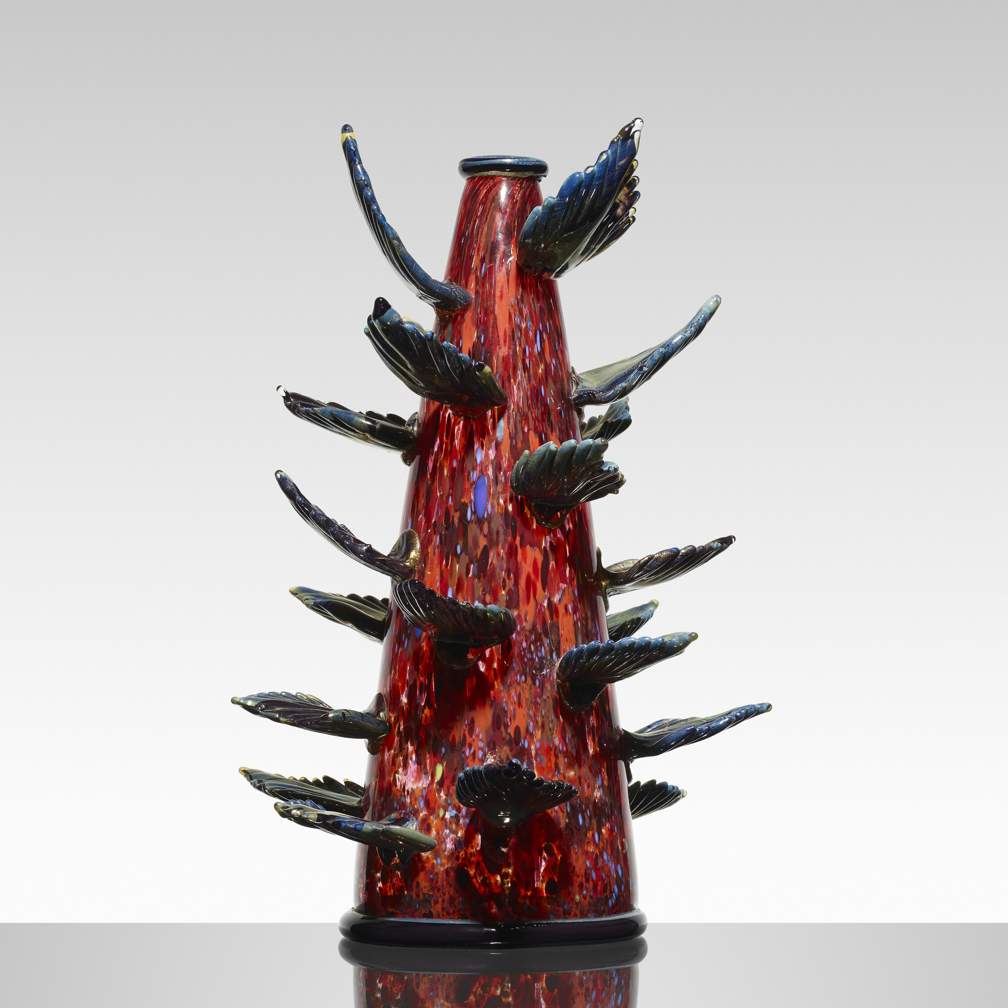 102: Dale Chihuly / Carmine Venetian with Prussian Blue Leaves (1 of 2)
