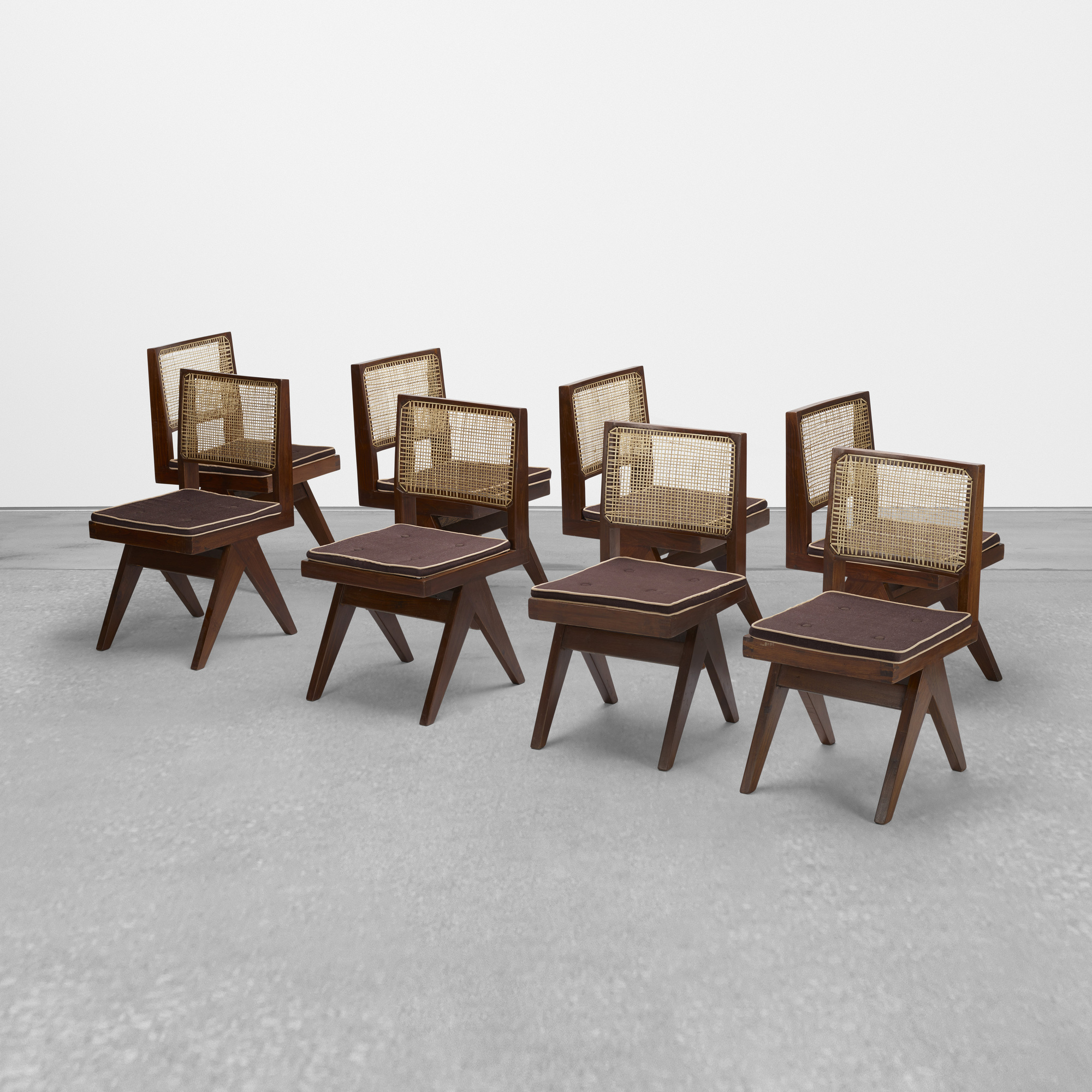 102: Pierre Jeanneret / set of eight chairs from Chandigarh (1 of 3)