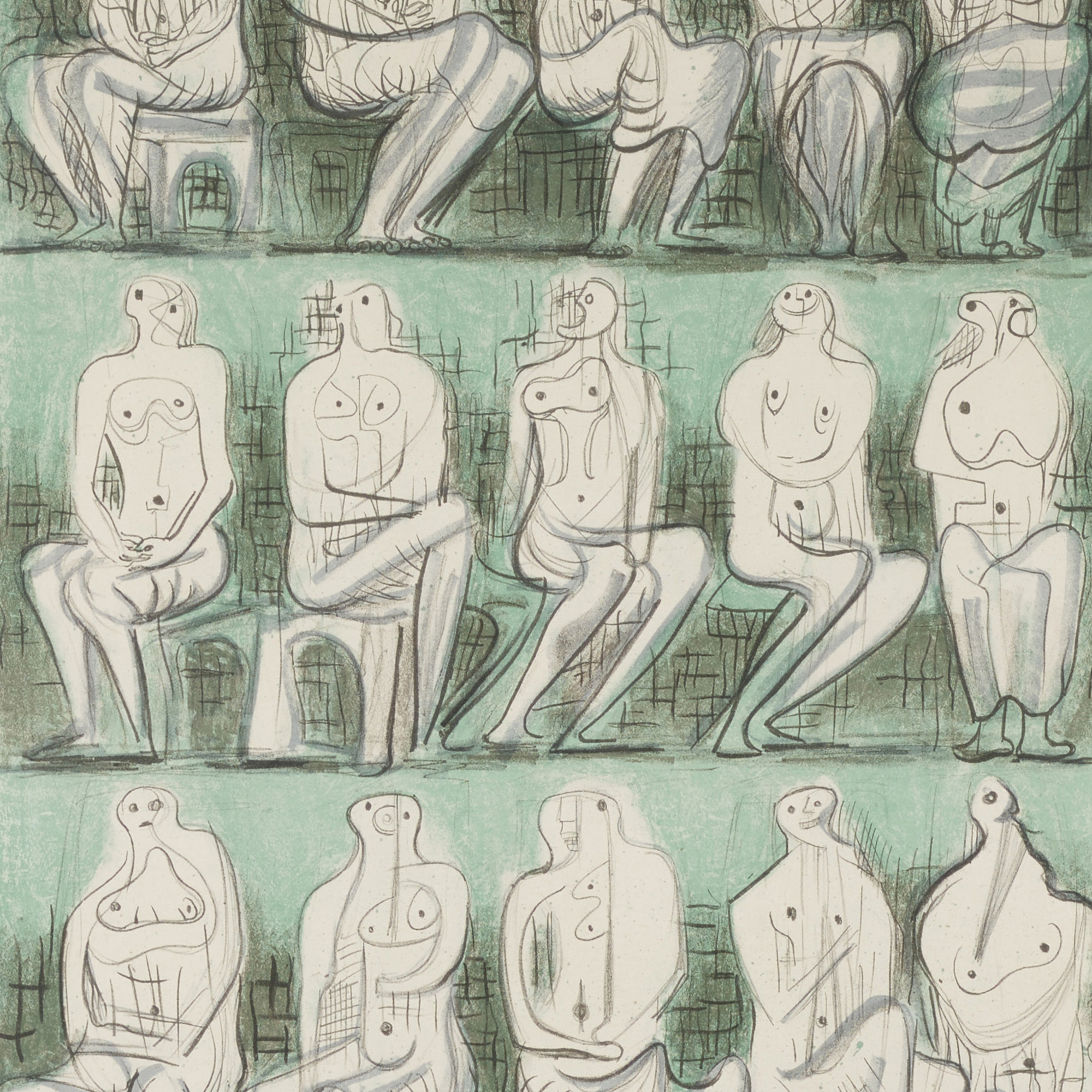 103: Henry Moore / Untitled (seated figures) (2 of 2)