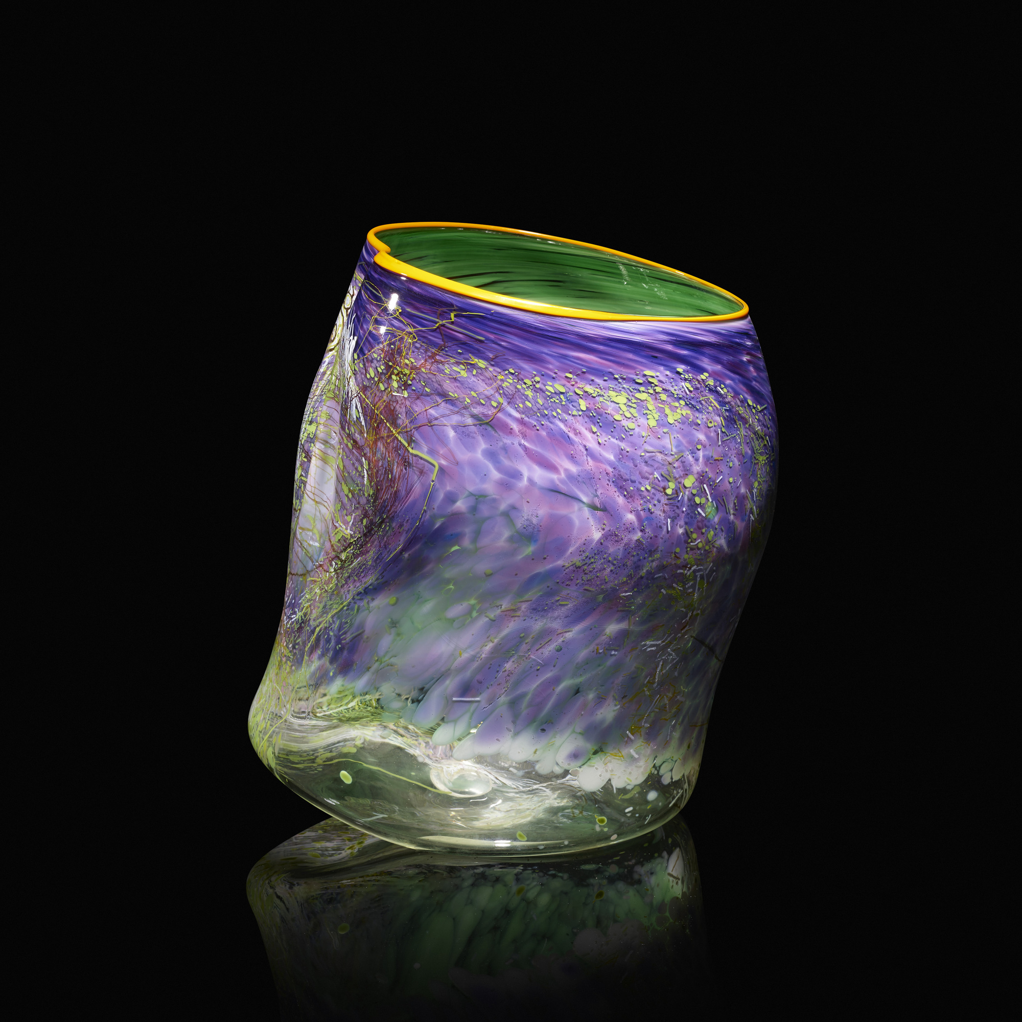 104: Dale Chihuly / Purple Lake Soft Cylinder with Terre Verte Drawing (1 of 3)