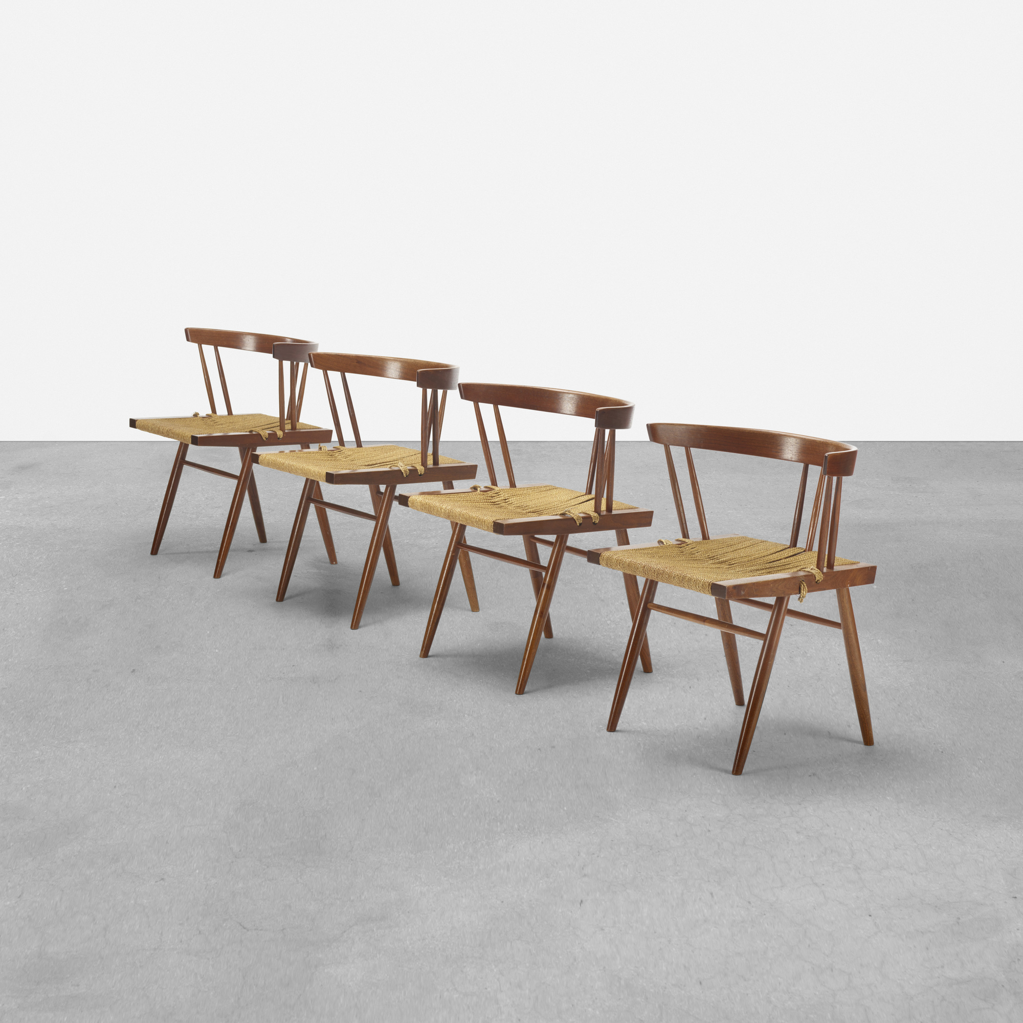 104: George Nakashima / Grass-Seated chairs, set of four (1 of 4)