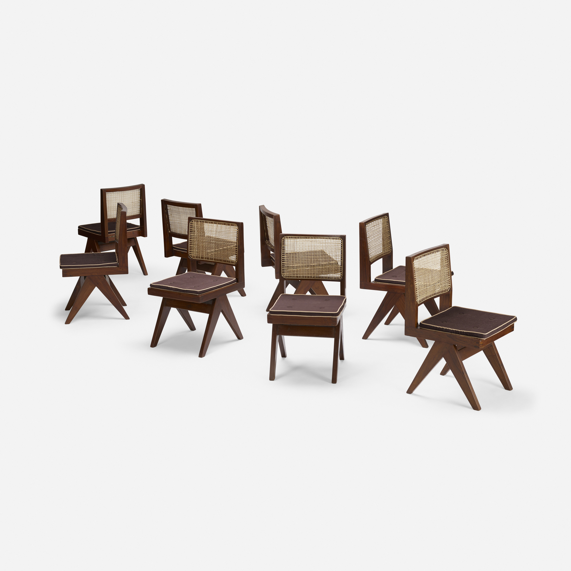 104: Pierre Jeanneret / set of eight chairs from Chandigarh (1 of 4)