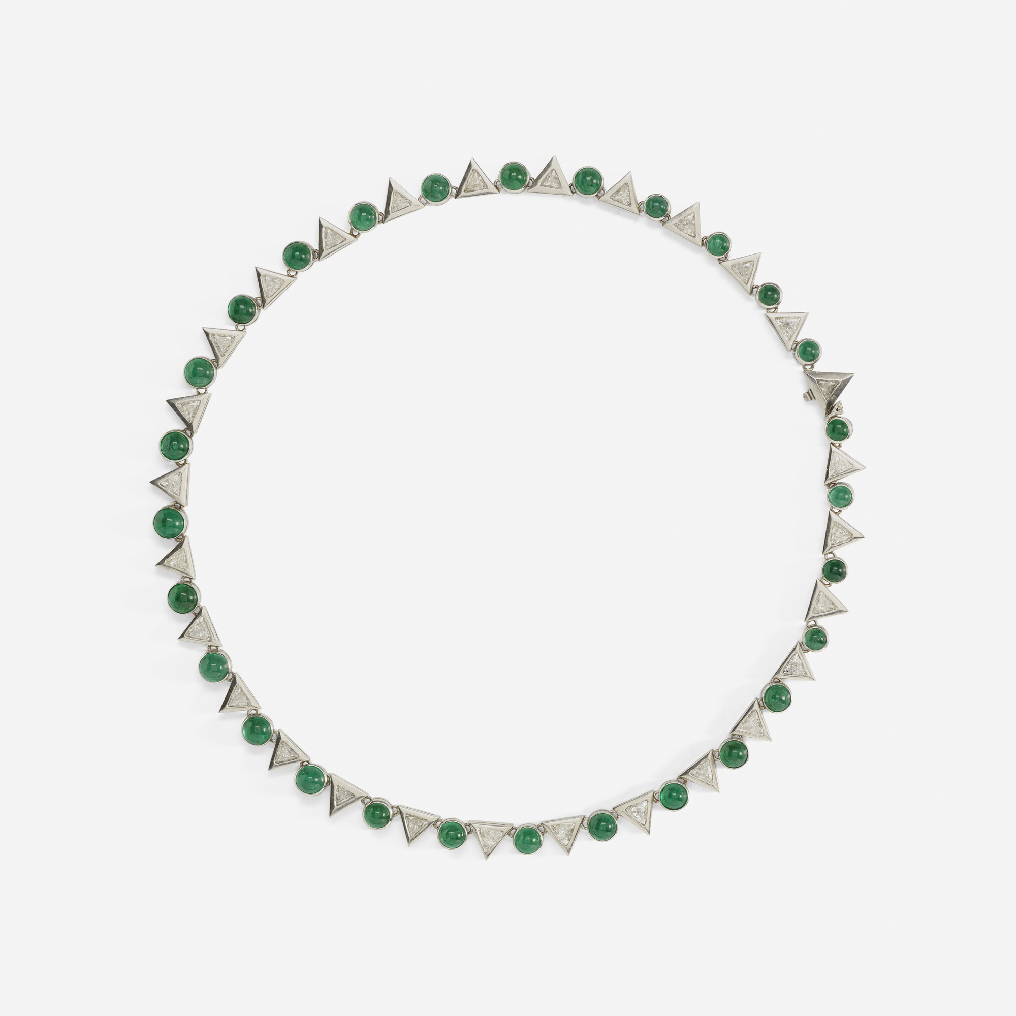 104:  / A platinum, emerald and diamond necklace (1 of 2)