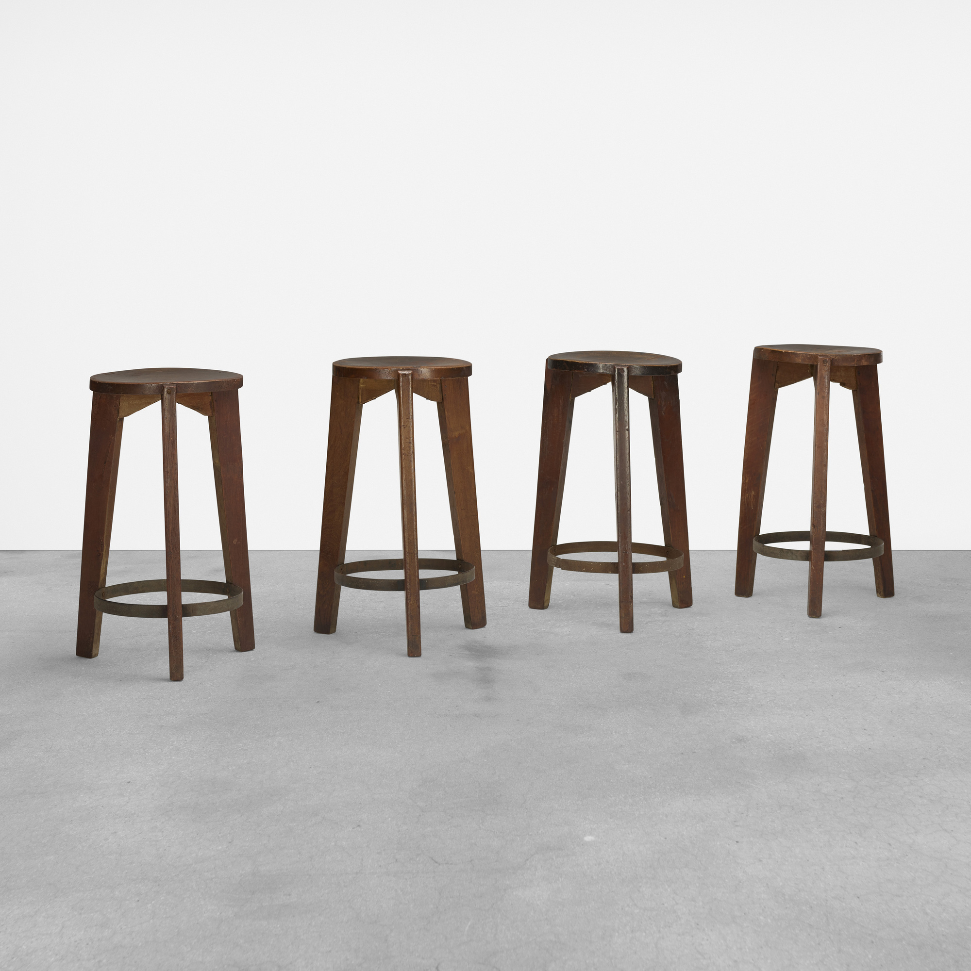106: Pierre Jeanneret / set of four stools from Punjab University, Chandigarh (1 of 4)