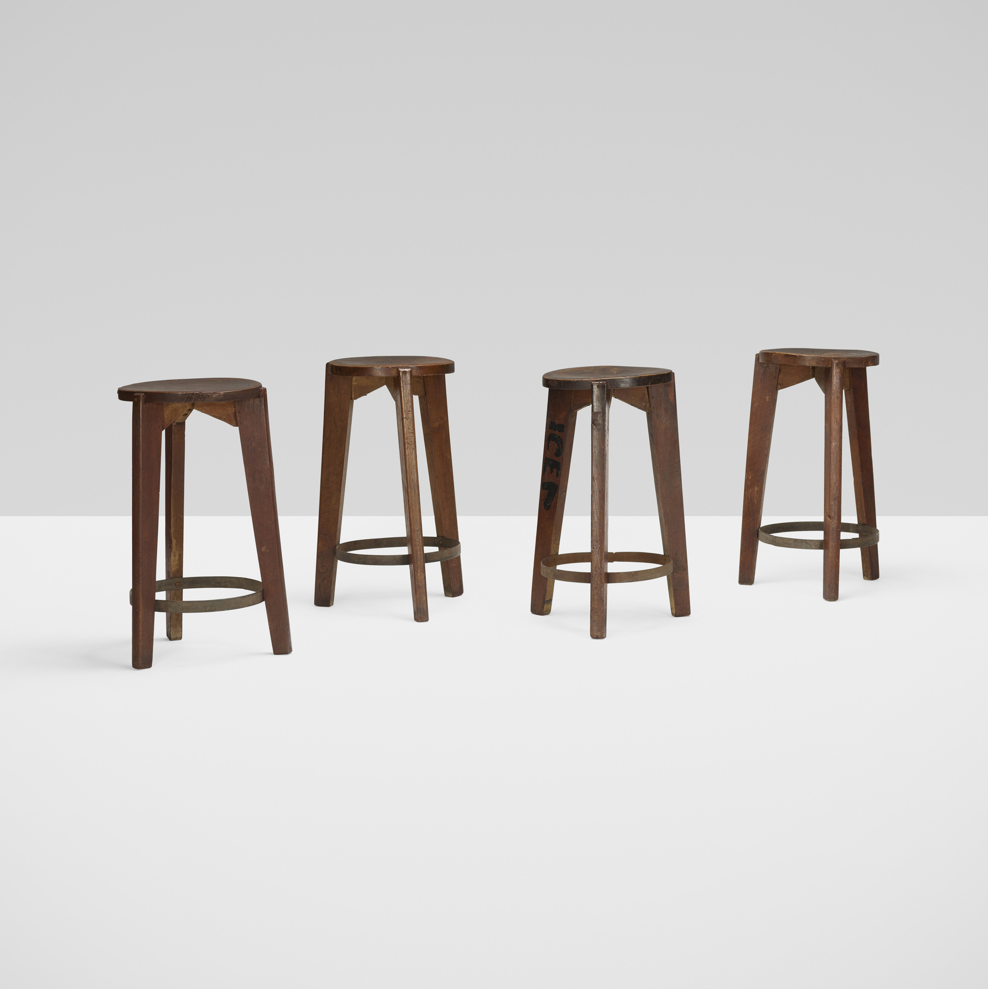 106: Pierre Jeanneret / set of four stools from Punjab University, Chandigarh (2 of 4)