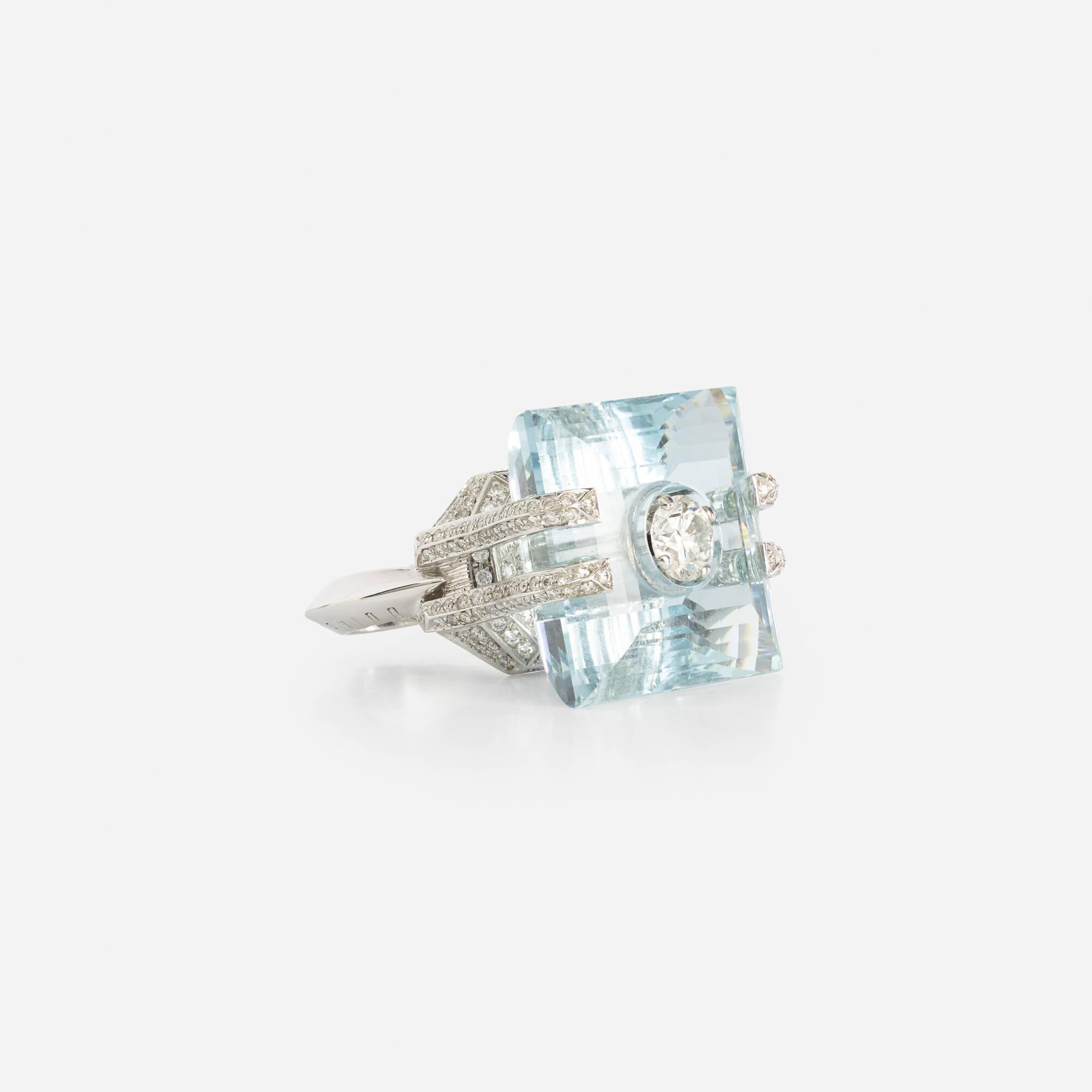 108: Corvino / A gold, aquamarine and diamond ring (1 of 3)