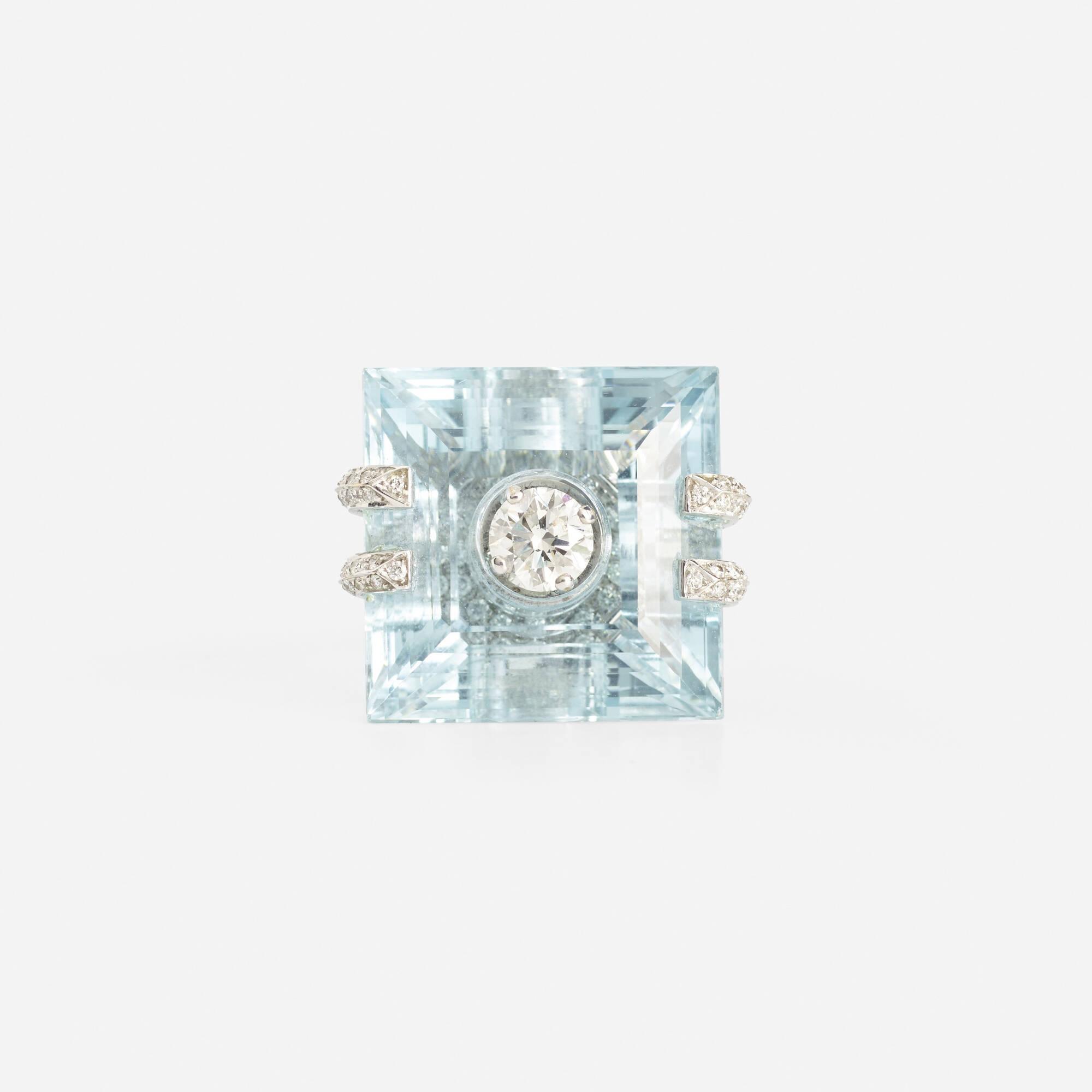 108: Corvino / A gold, aquamarine and diamond ring (2 of 3)