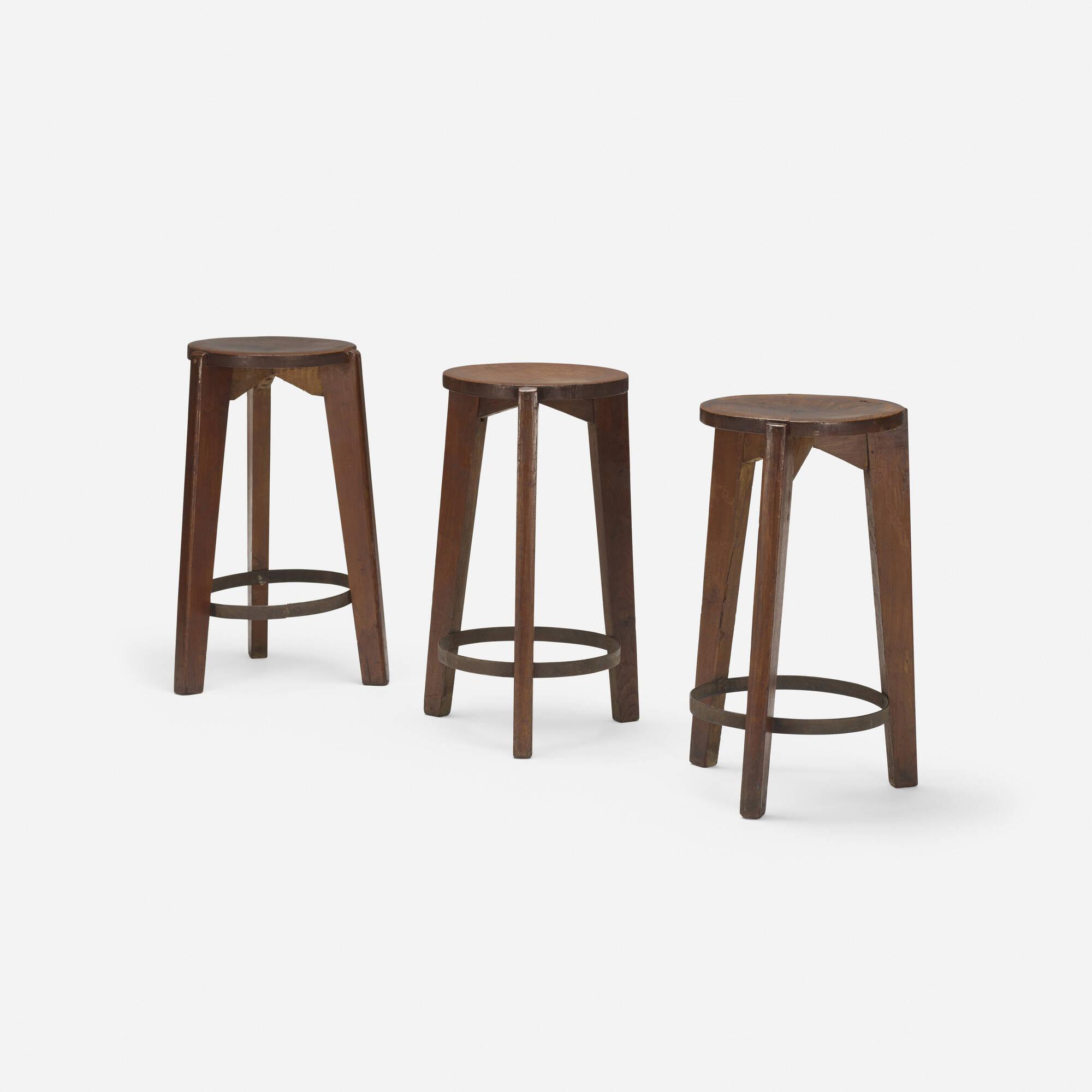 109: Pierre Jeanneret / set of three stools from Punjab University, Chandigarh (1 of 2)