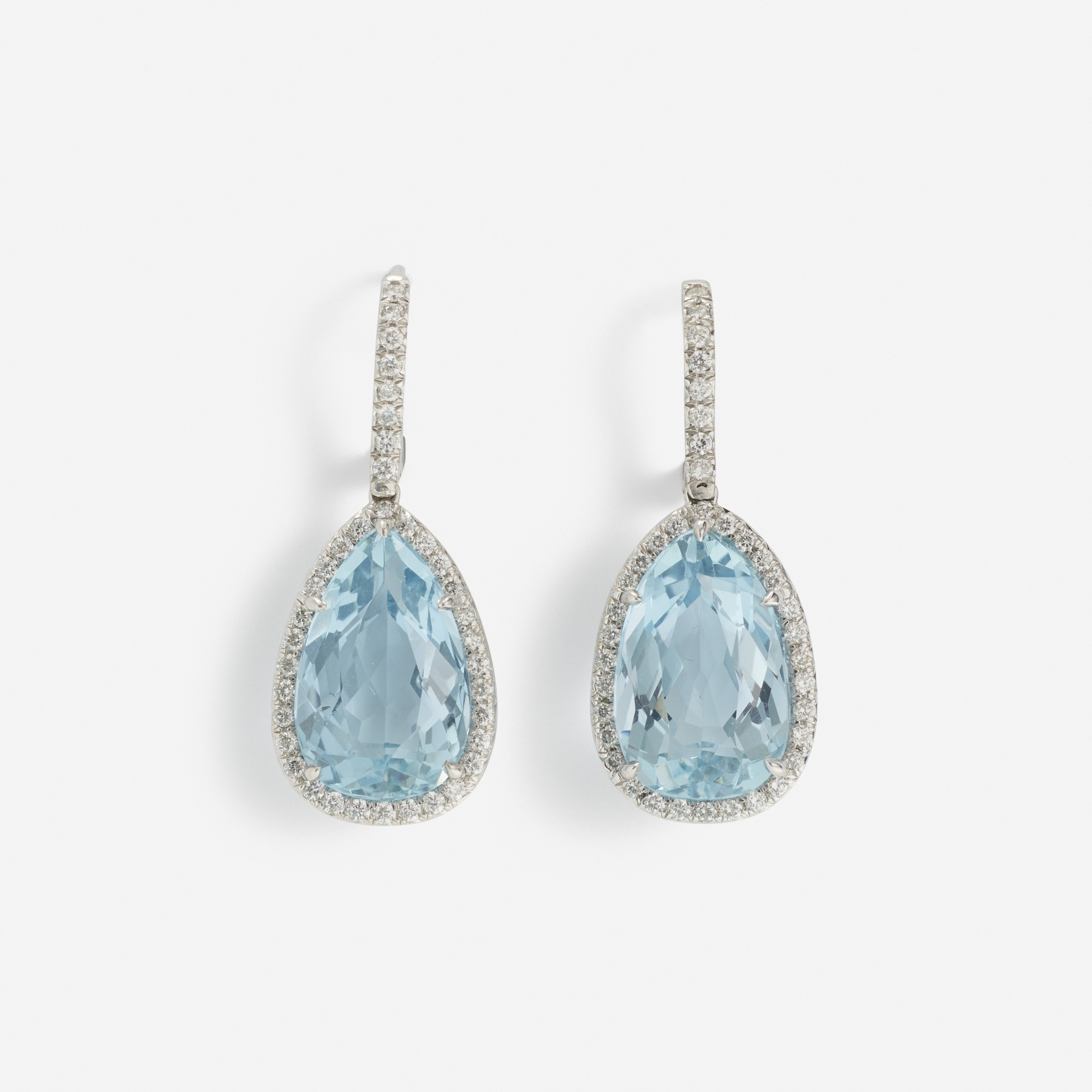 110:  / A pair of gold, aquamarine and diamond earrings (1 of 1)