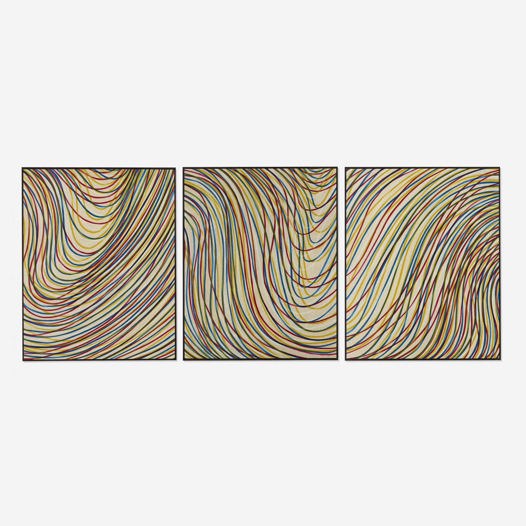 110: Sol LeWitt / Wavy Lines on Gray (triptych) (1 of 1)