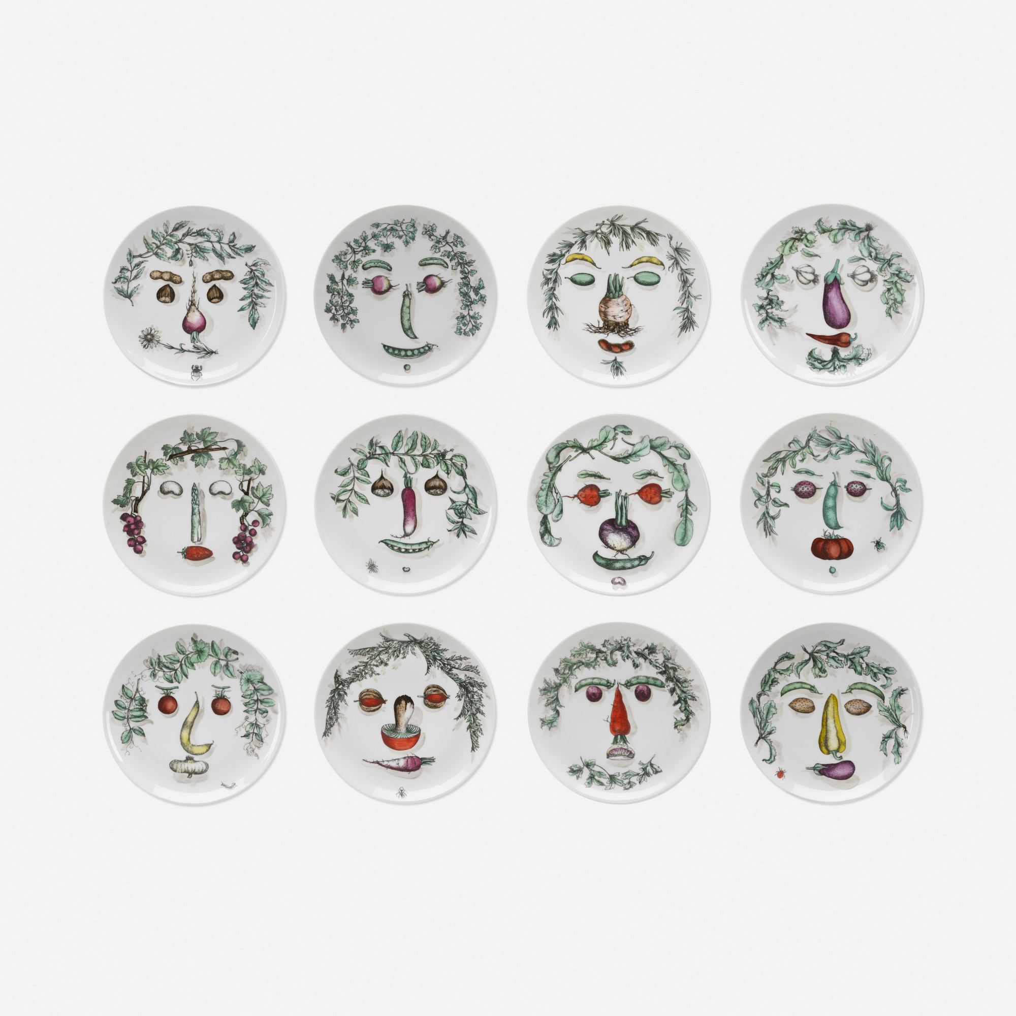 112: Piero Fornasetti / Acrimboldesca plates, set of twelve (1 of 2)