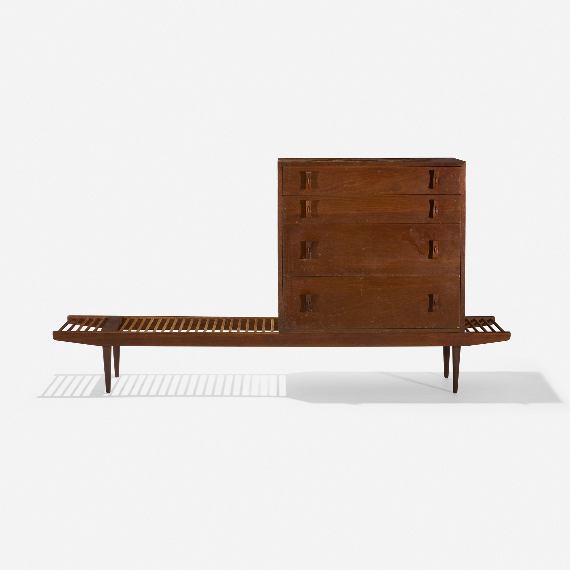 113: Milo Baughman and Stanley Young / bench with cabinet (1 of 3)
