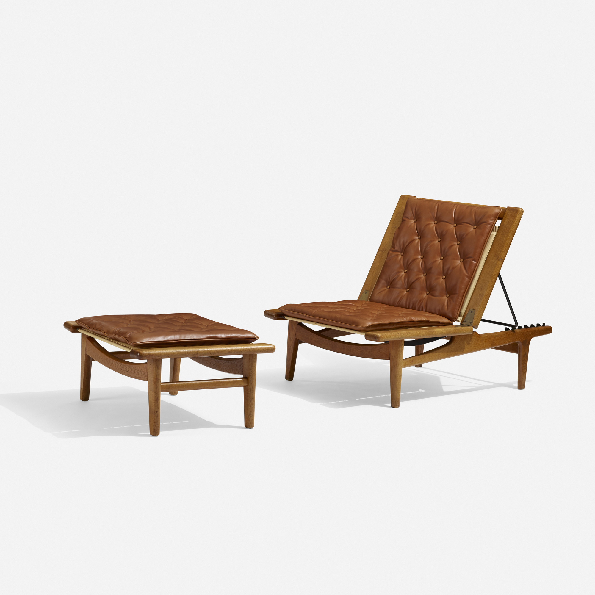 114 Hans J Wegner Chaise Lounge And Ottoman 1 Of 4