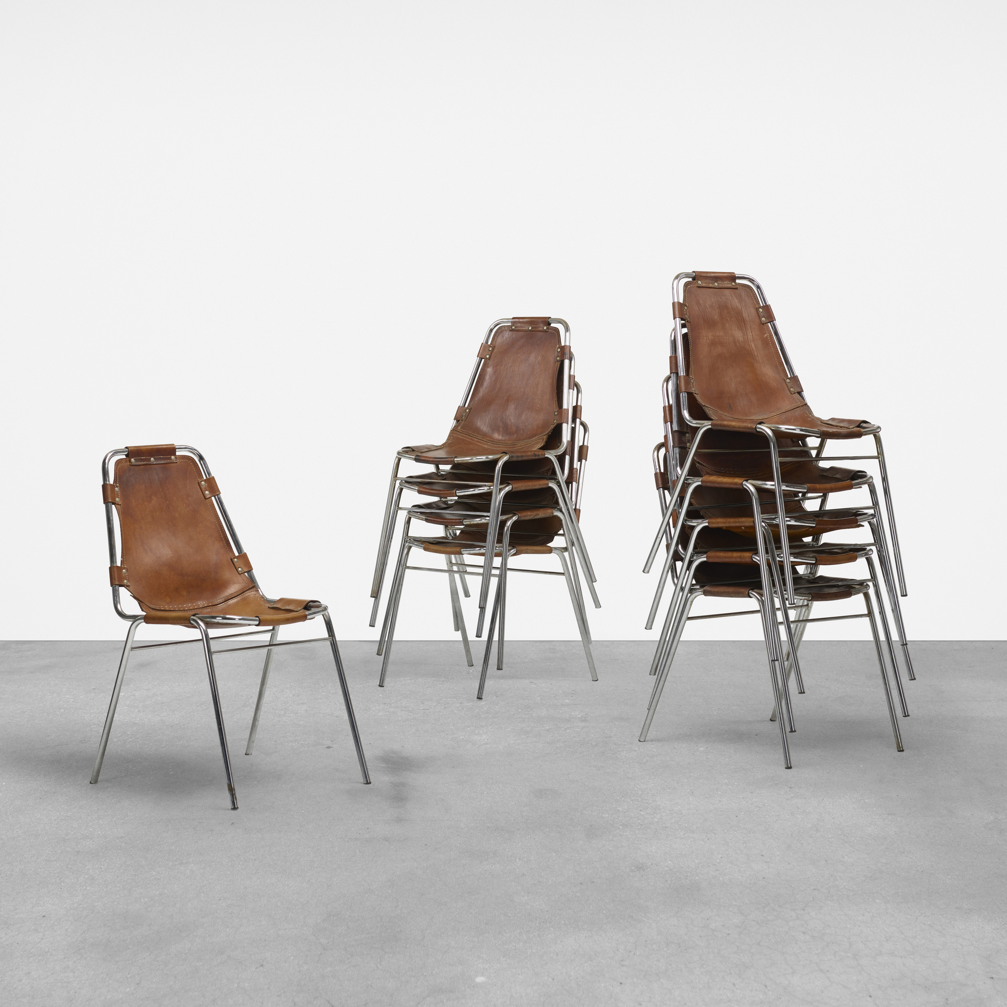 117: Charlotte Perriand / dining chairs from Les Arcs, set of ten (1 of 5)