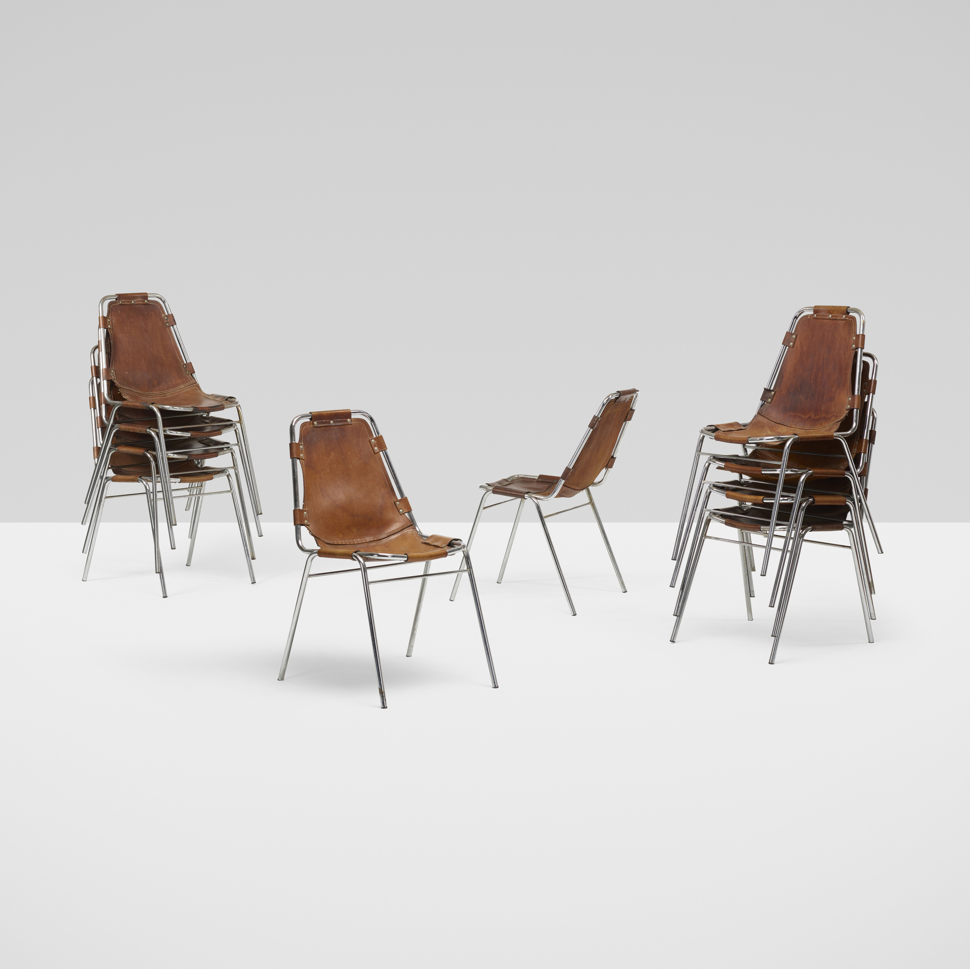 117: Charlotte Perriand / dining chairs from Les Arcs, set of ten (2 of 5)