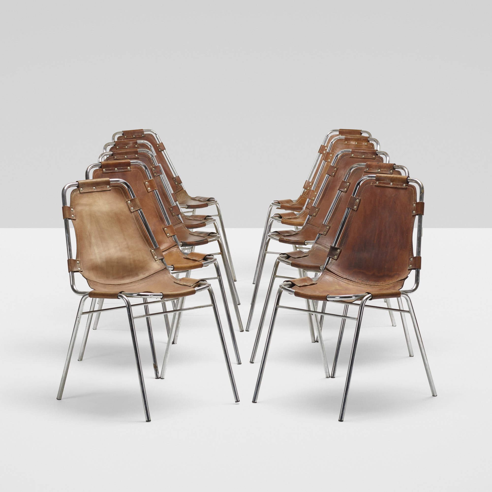 117: Charlotte Perriand / dining chairs from Les Arcs, set of ten (3 of 5)