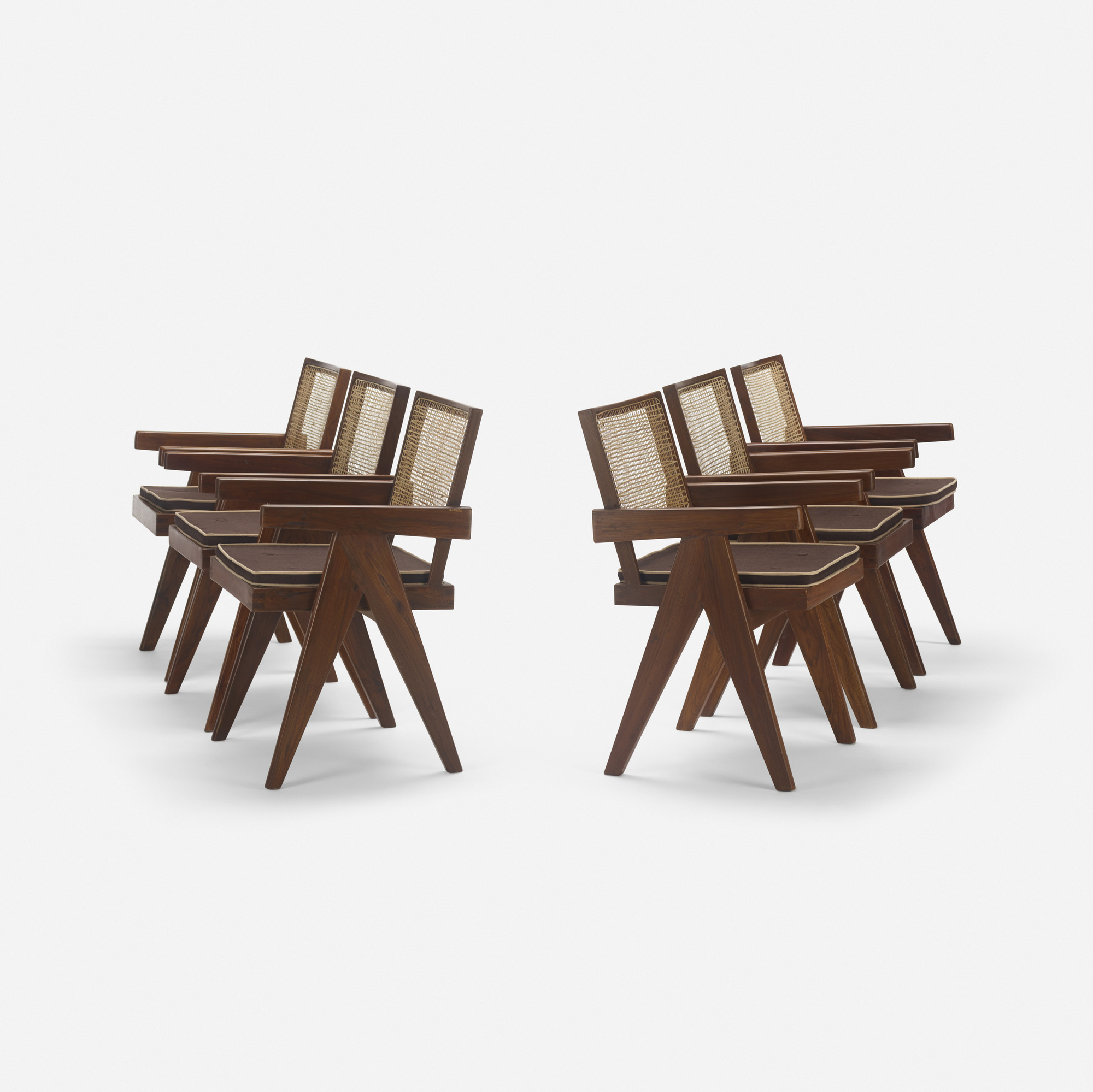118: Pierre Jeanneret / set of six armchairs from Chandigarh (1 of 3)