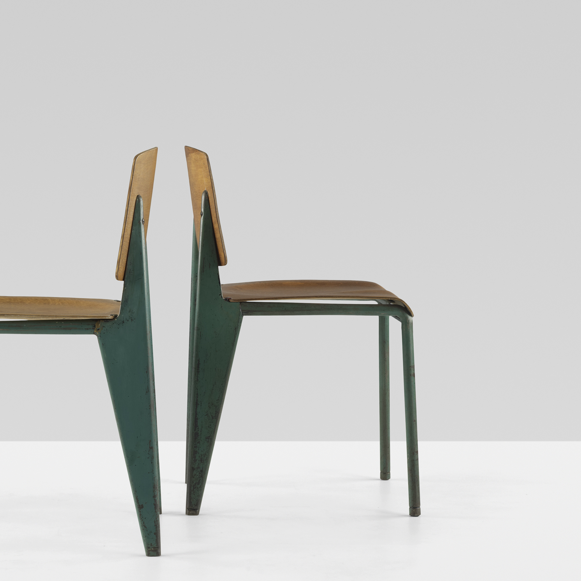 ... 118: Jean Prouvé / No. 4 Chairs, Set Of Eight (4 Of
