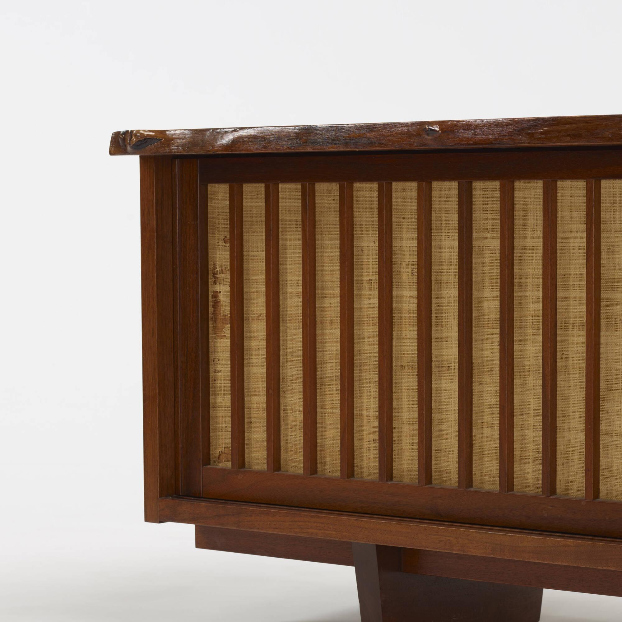 120 George Nakashima Exceptional Free Edge Sliding Door Cabinet
