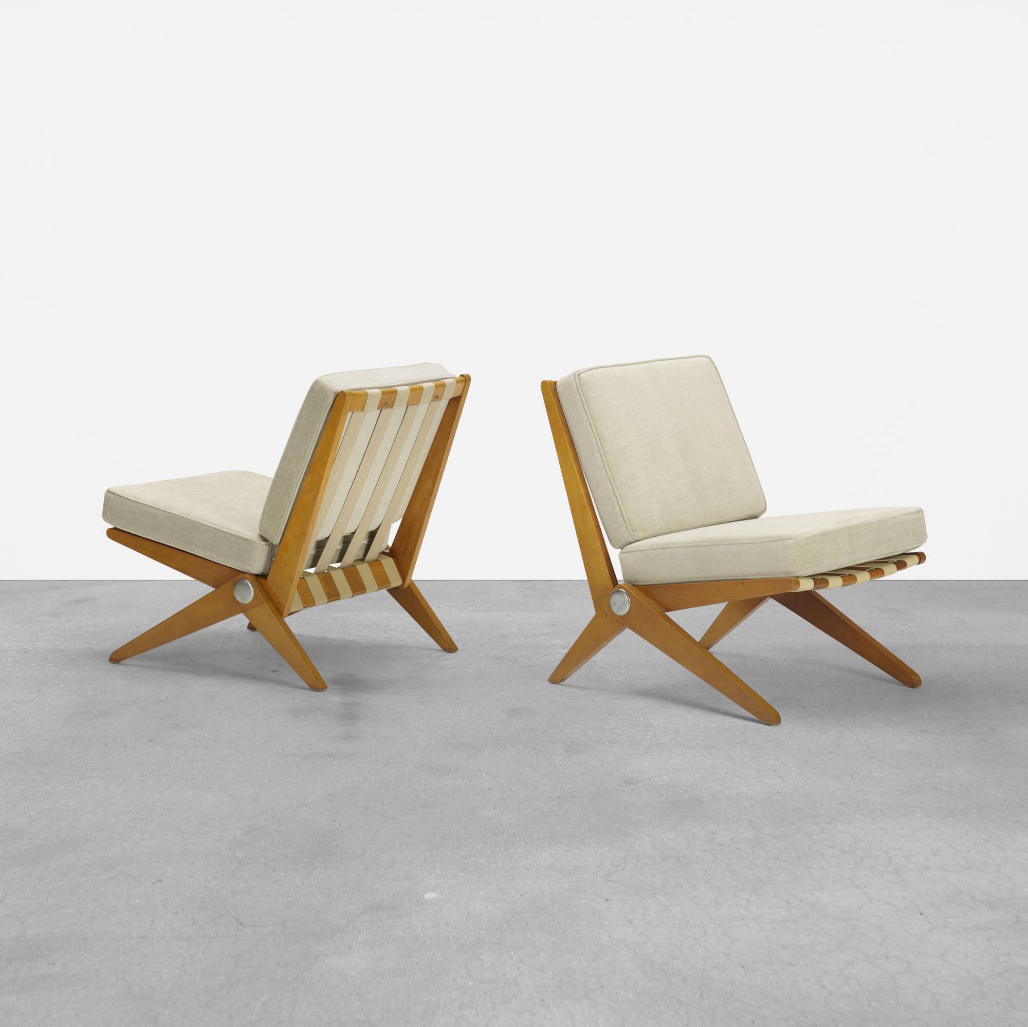 121: Pierre Jeanneret / Scissor chairs, pair (1 of 2)