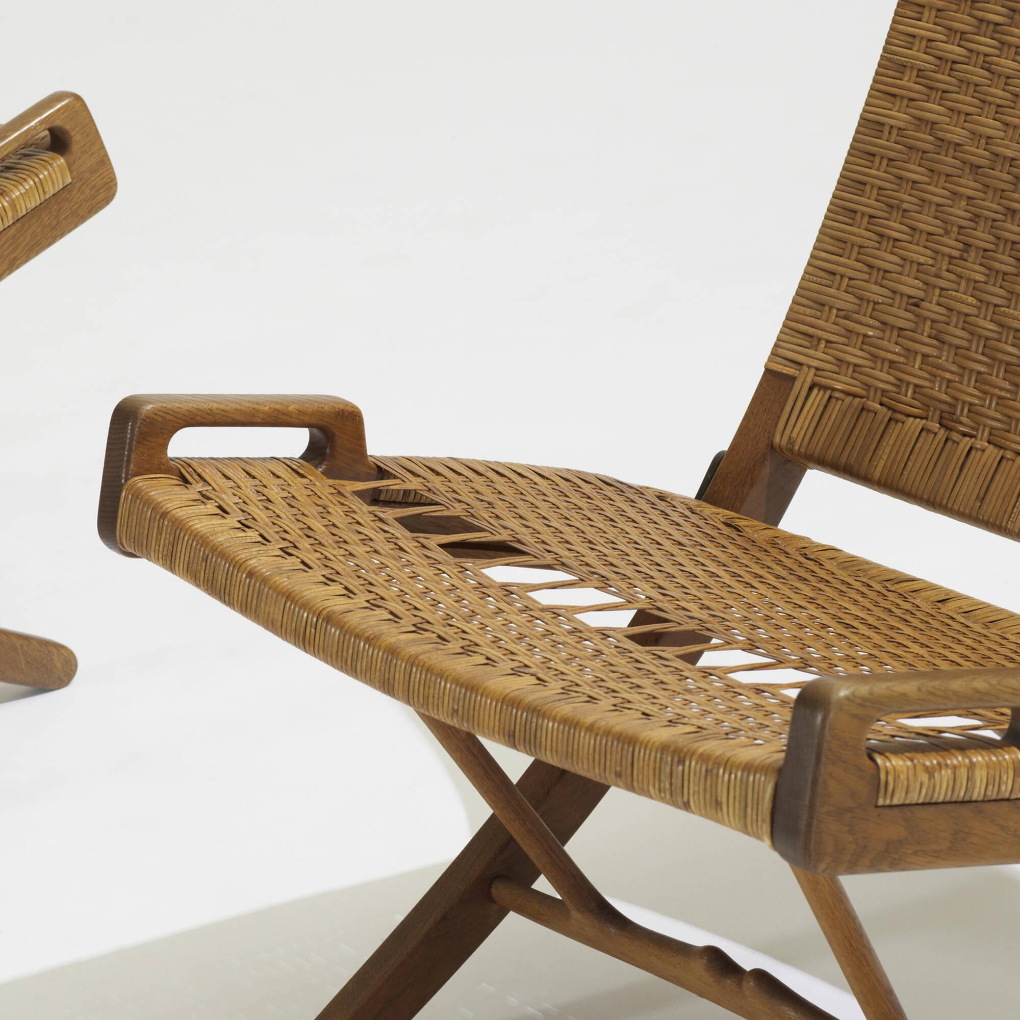121 Hans J Wegner folding chairs pair Scandinavian Design