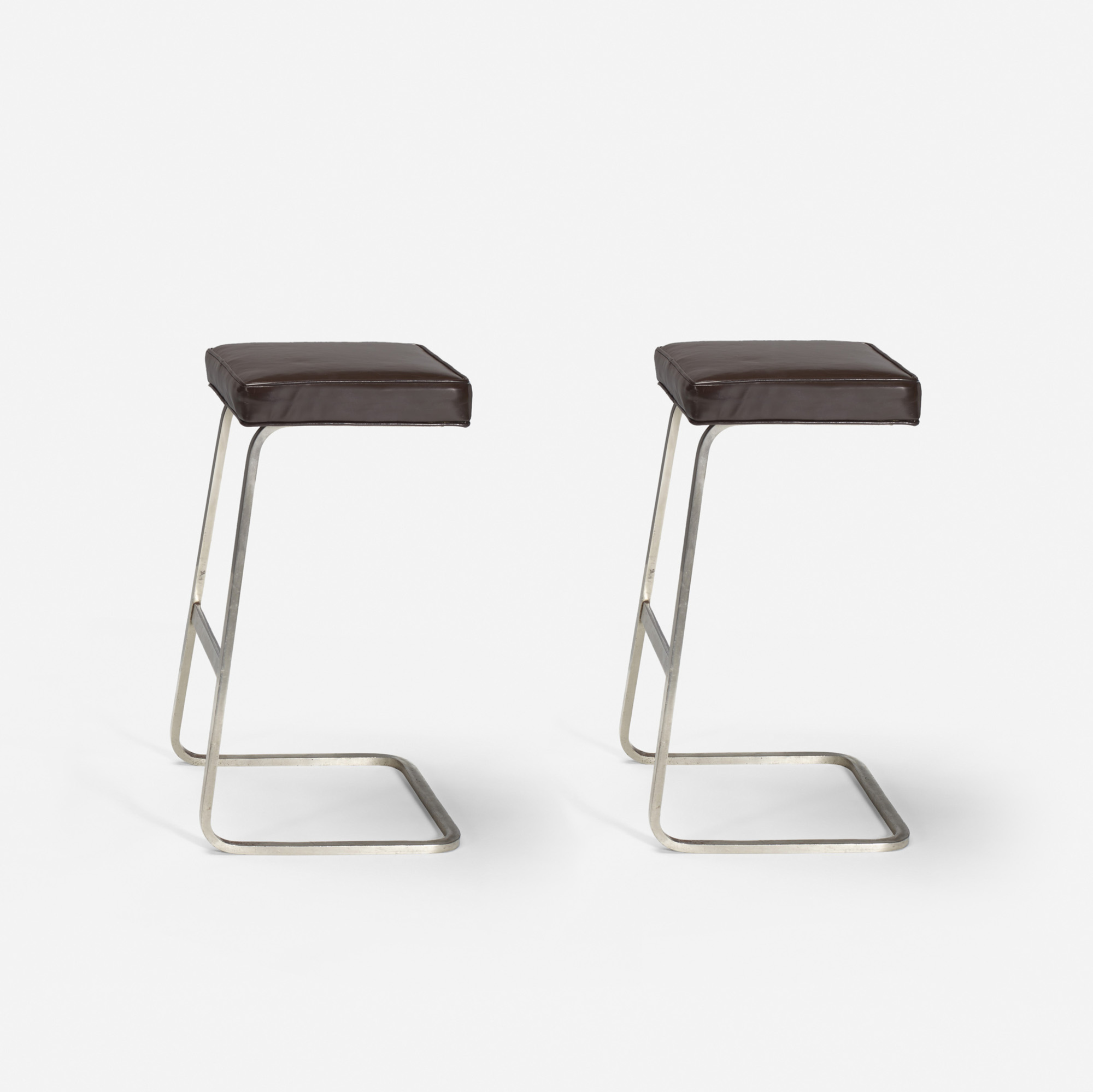 124: Ludwig Mies van der Rohe with Philip Johnson / Four Seasons bar stools from the Grill Room, pair (1 of 1)