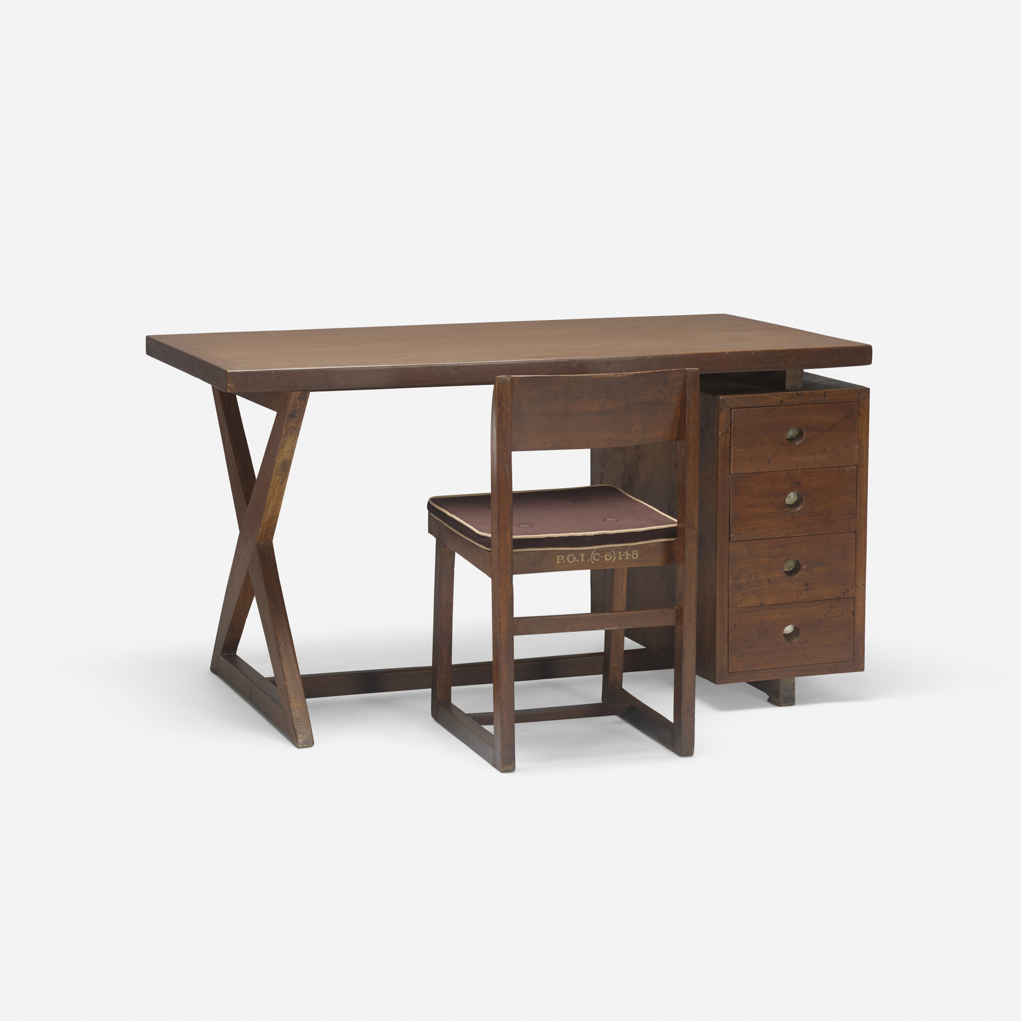 125: Pierre Jeanneret / desk with chair from the Administrative Buildings, Chandigarh (1 of 3)