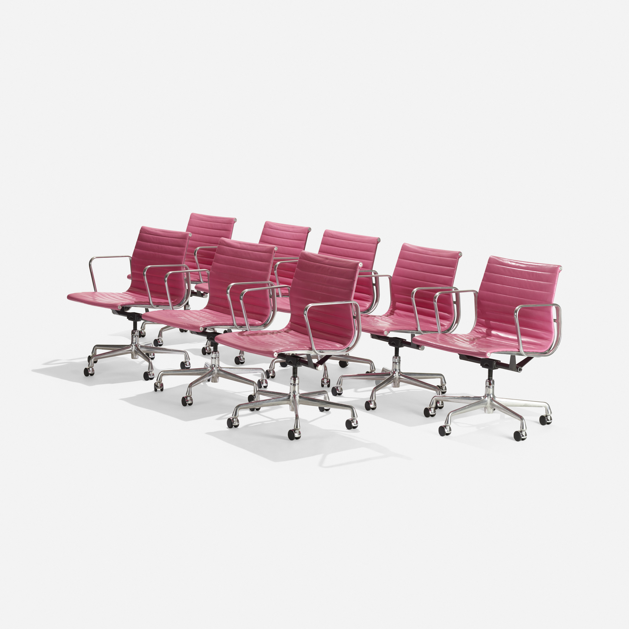 127: Charles and Ray Eames / Aluminum Group office chairs, set of eight (1 of 3)
