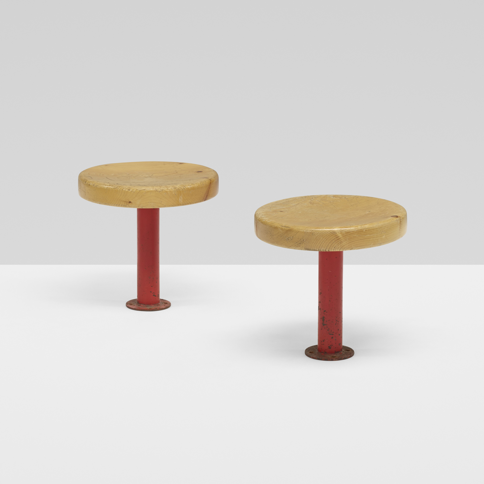 127: Charlotte Perriand / Kindergarten stools from Les Arcs, pair (1 of 2)