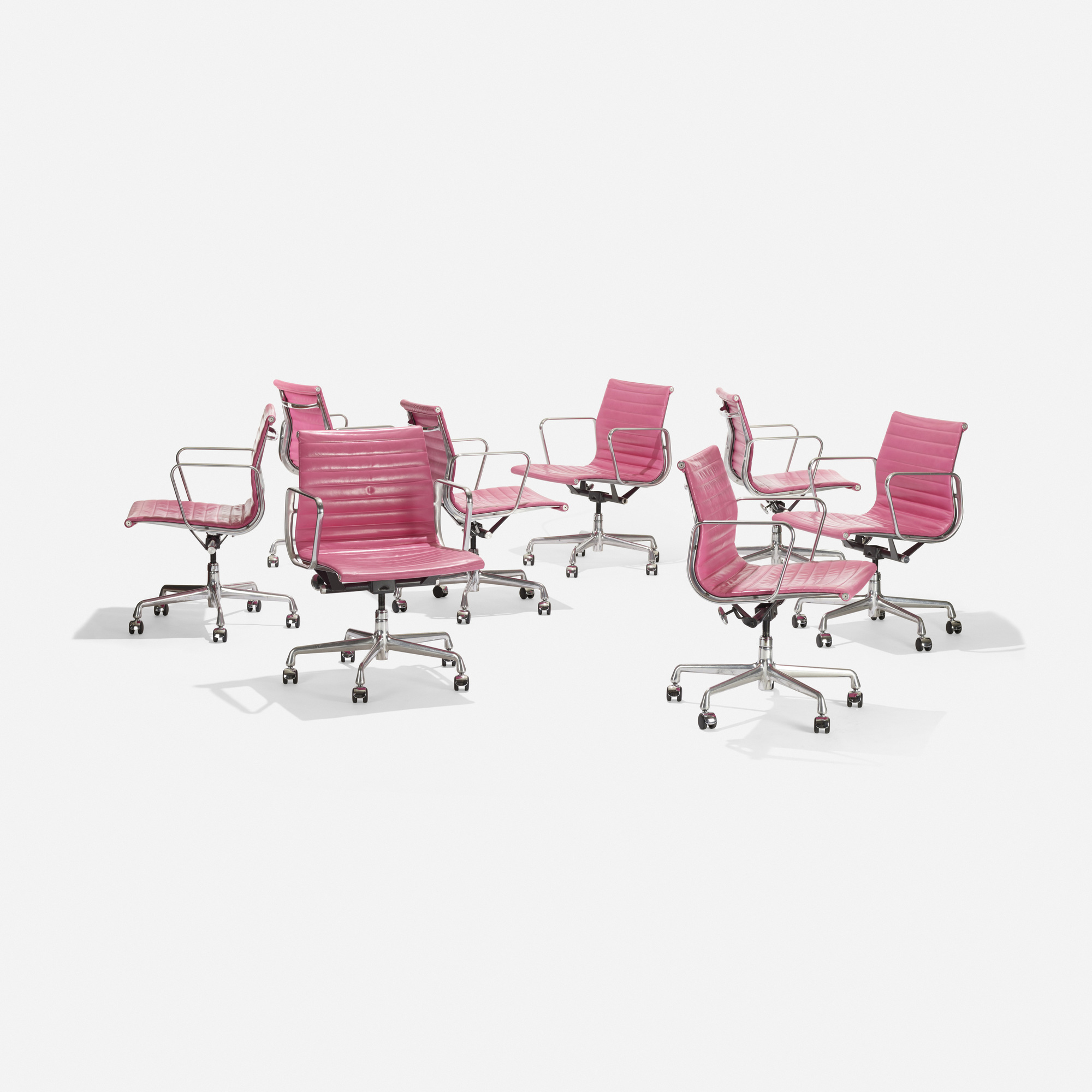 127: Charles and Ray Eames / Aluminum Group office chairs, set of eight (2 of 3)