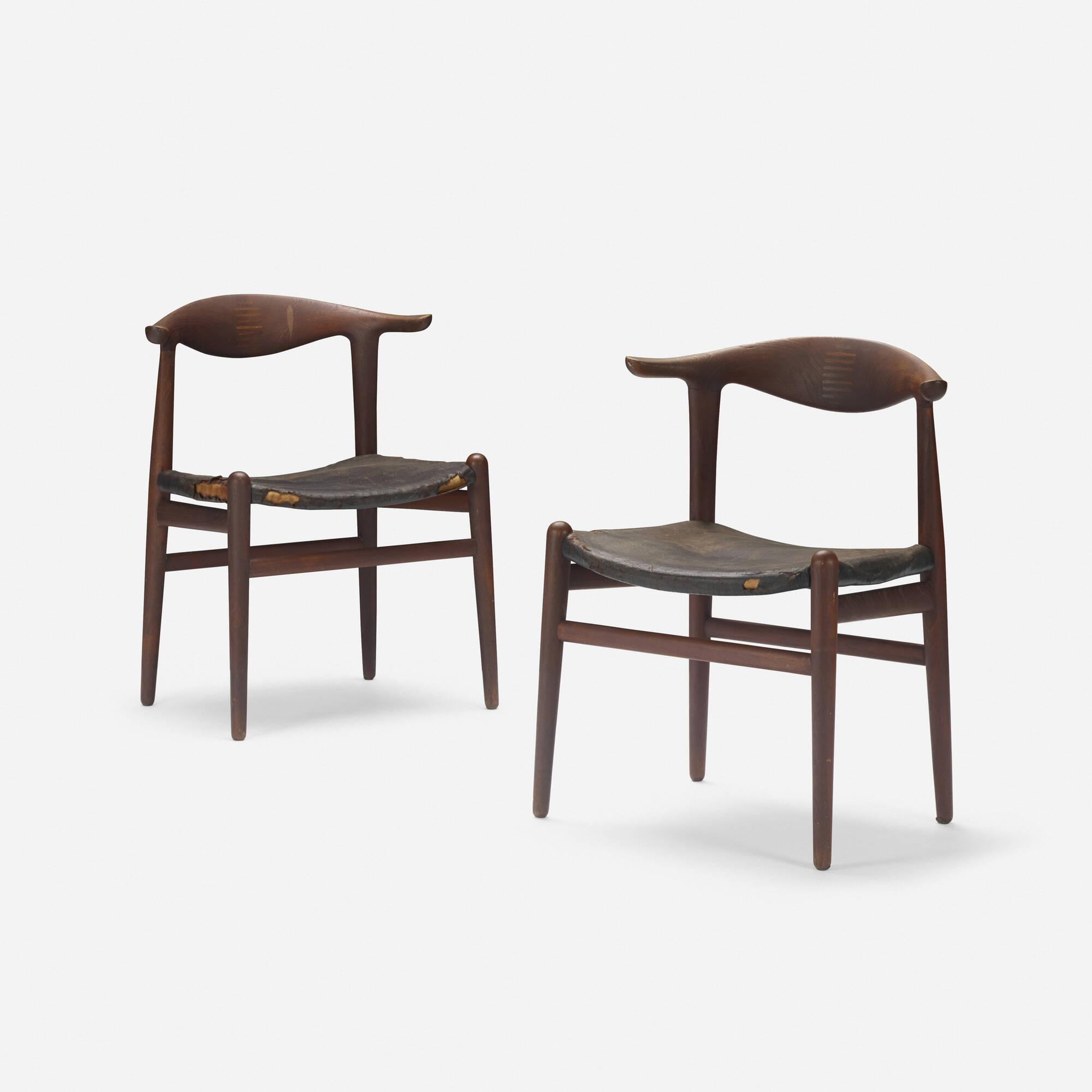 128: Hans J. Wegner / Cow Horn chairs, pair (1 of 3)