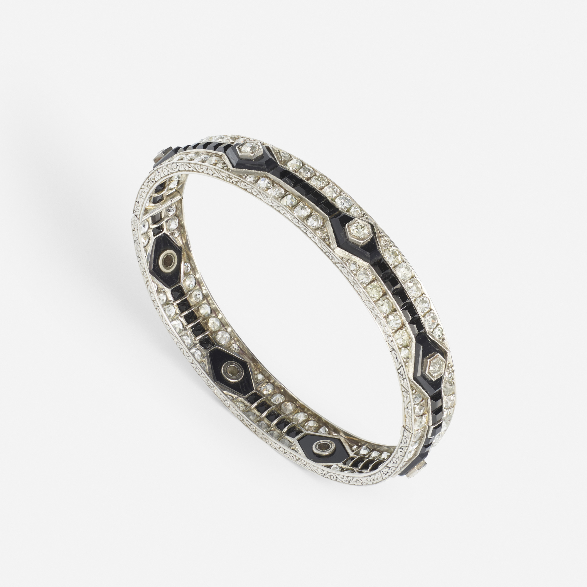 128: Art Deco / A platinum, diamond and onyx bangle (1 of 2)