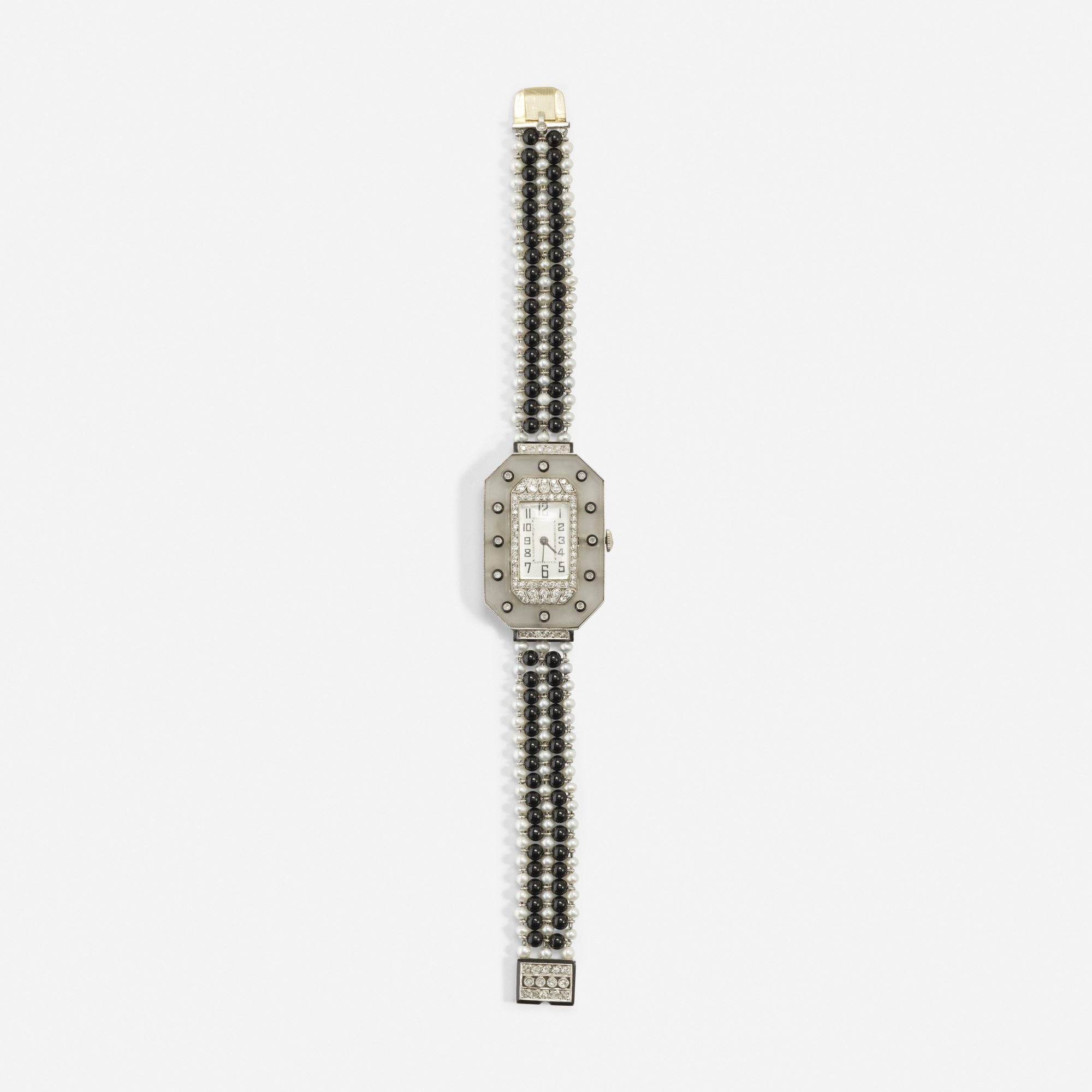 129: Art Deco / A gold, platinum, onyx, pearl, crystal and diamond watch (1 of 1)