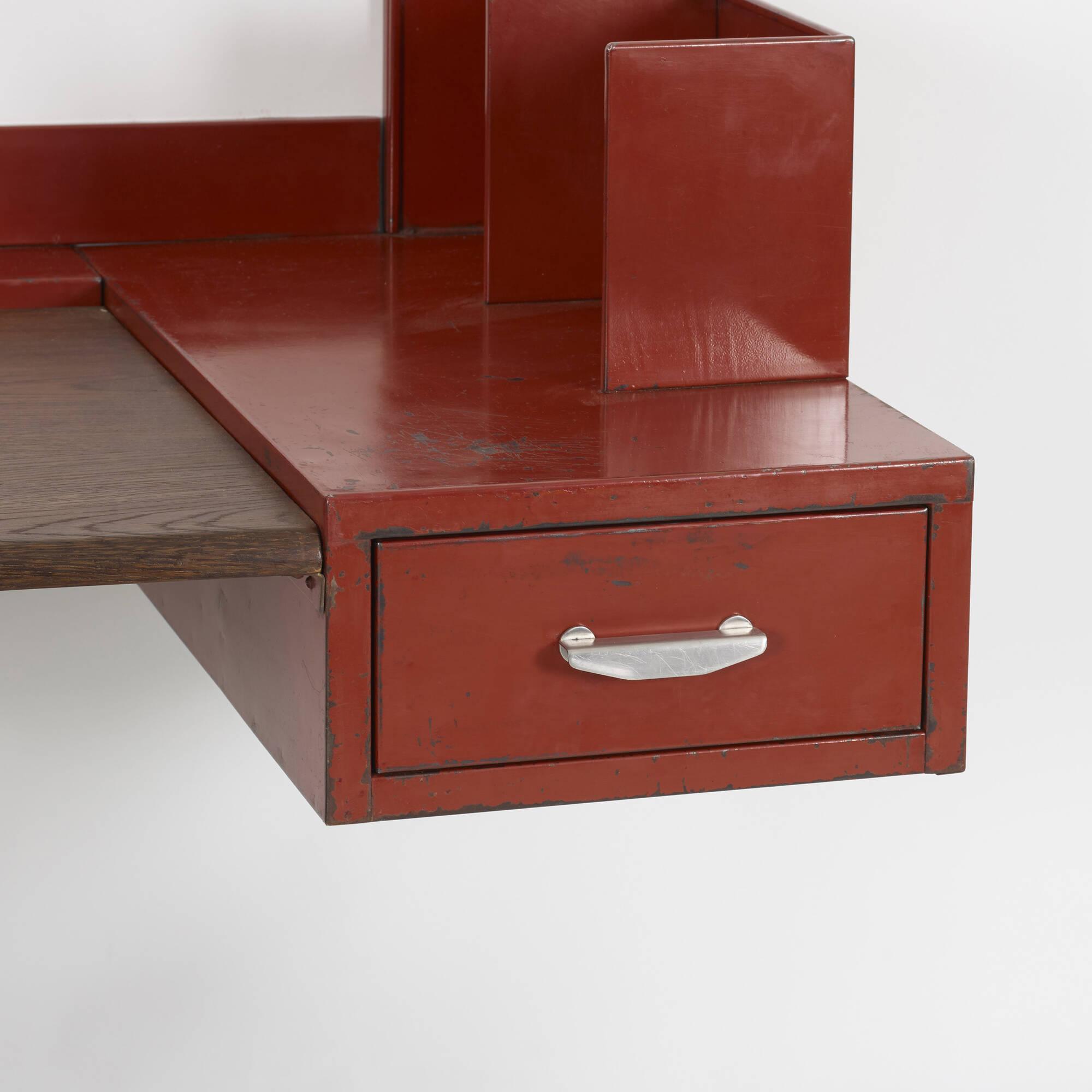 129: Jean Prouvé and Jules Leleu / wall-mounted desk and chair for Martel de Janville Sanatorium, Plateau d'Assy (3 of 3)