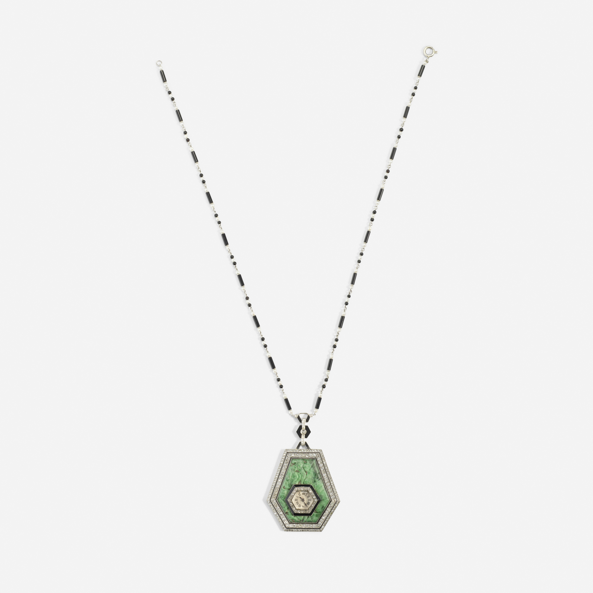 130: Art Deco / A platinum, jade, diamond and onyx watch necklace (1 of 2)
