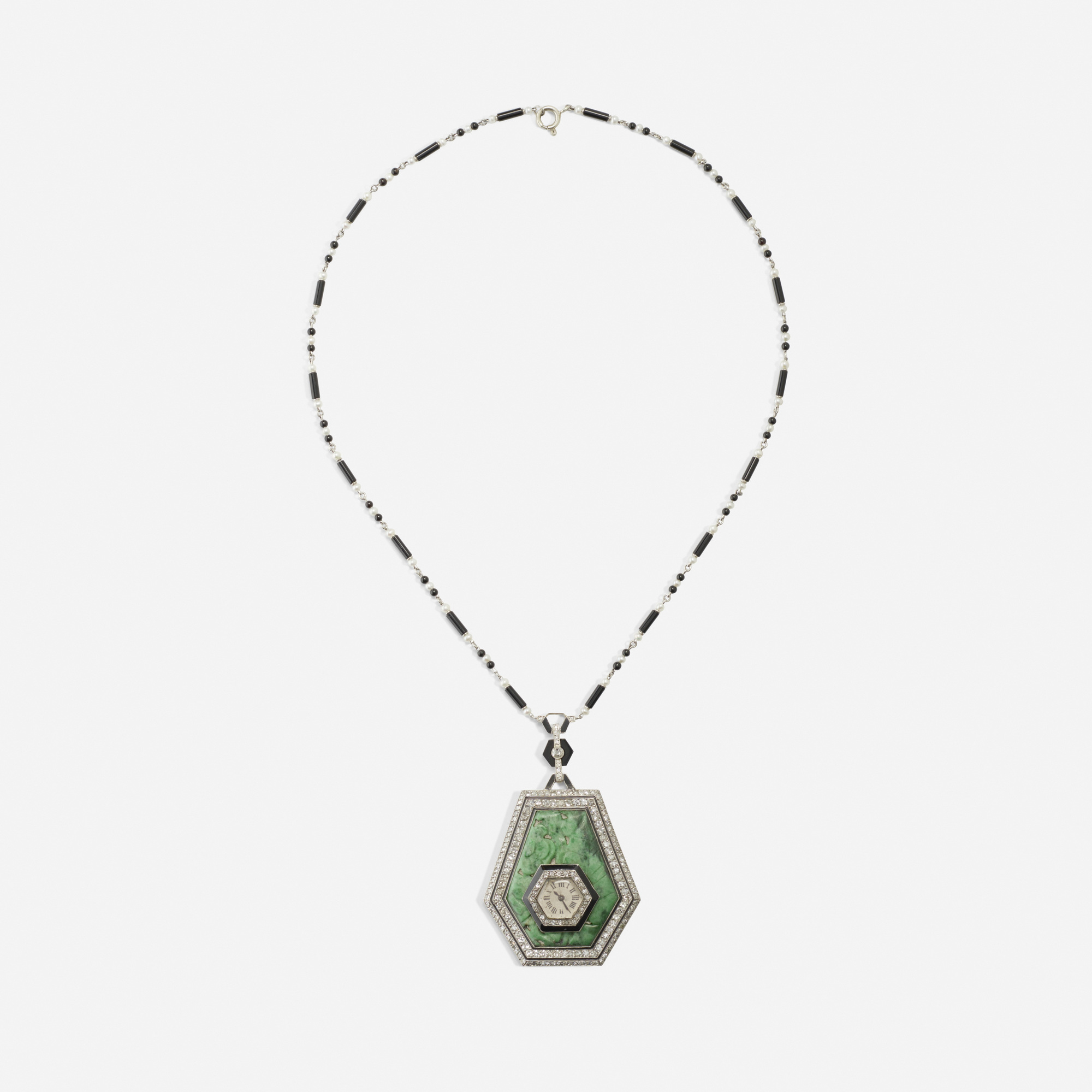 130: Art Deco / A platinum, jade, diamond and onyx watch necklace (2 of 2)