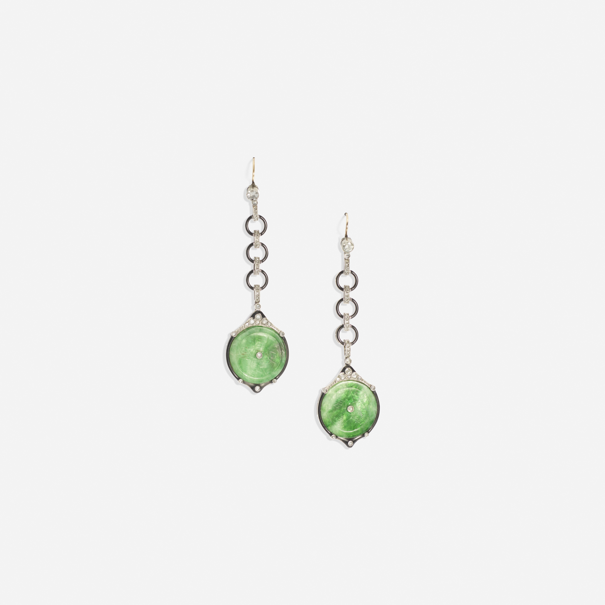 131: Art Deco / A pair of platinum, onyx, jade and diamond earrings (1 of 1)