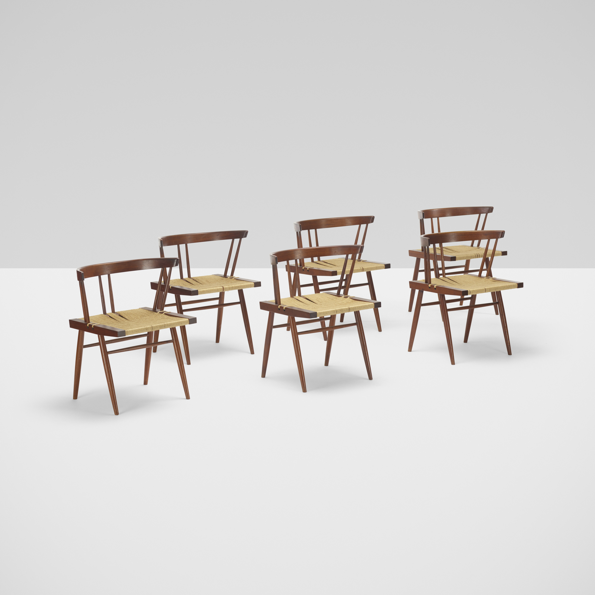 132: George Nakashima / Grass-Seated chairs, set of six (1 of 3)