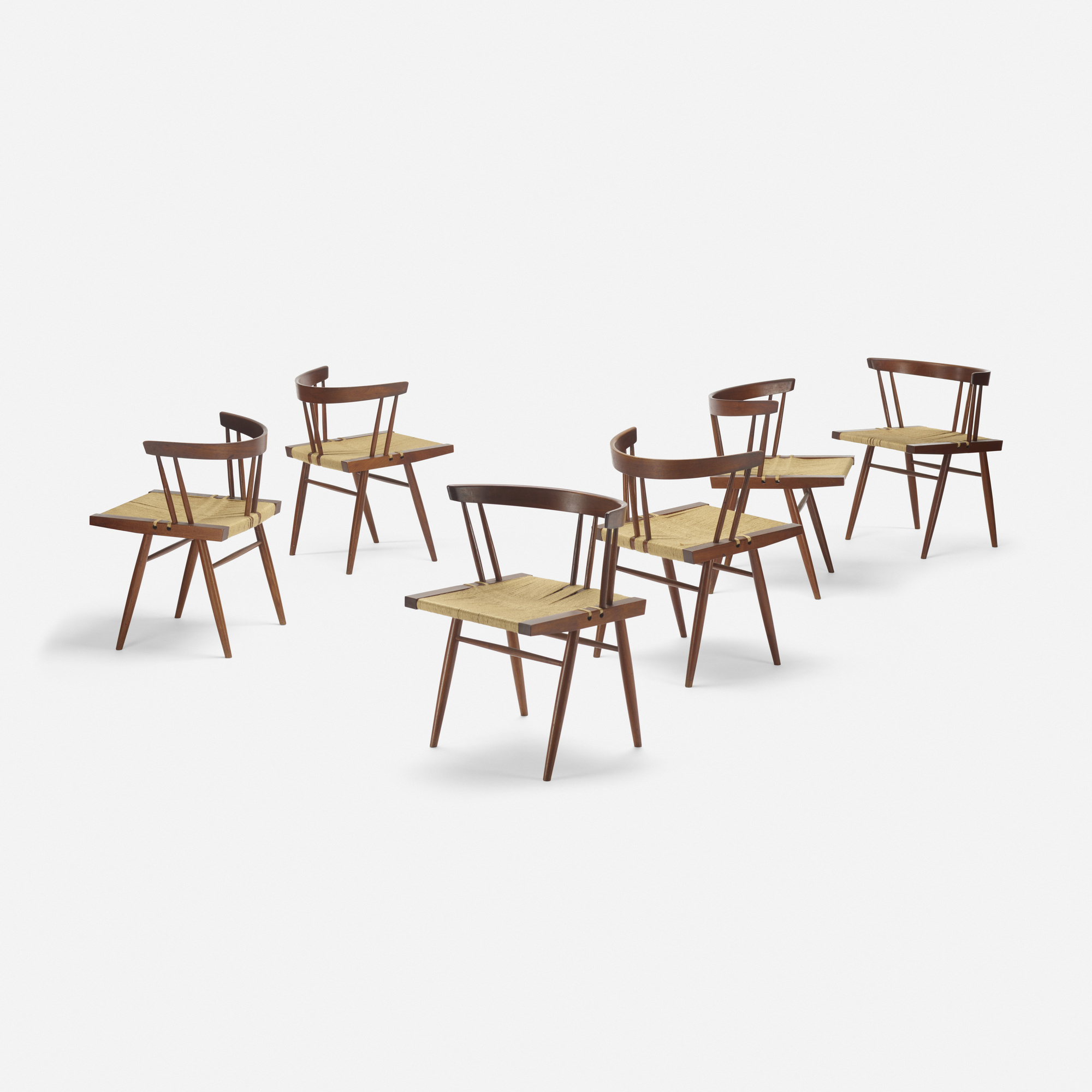132: George Nakashima / Grass-Seated chairs, set of six (2 of 3)