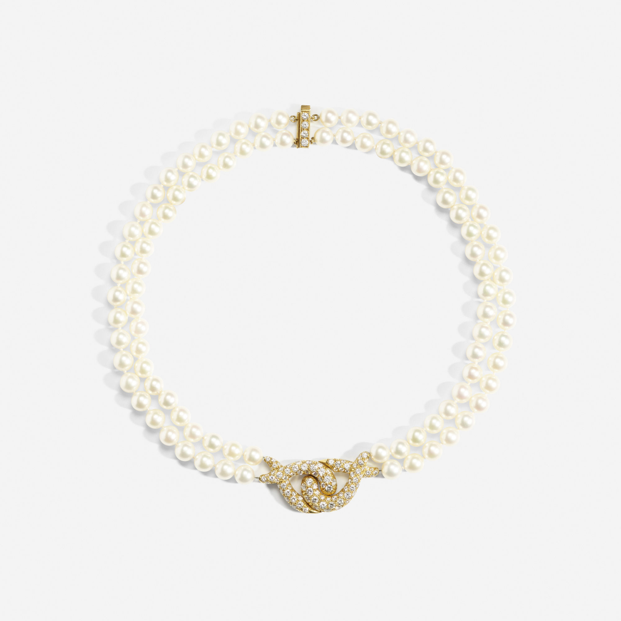 136: Van Cleef & Arpels / A gold, diamond and pearl necklace (1 of 1)