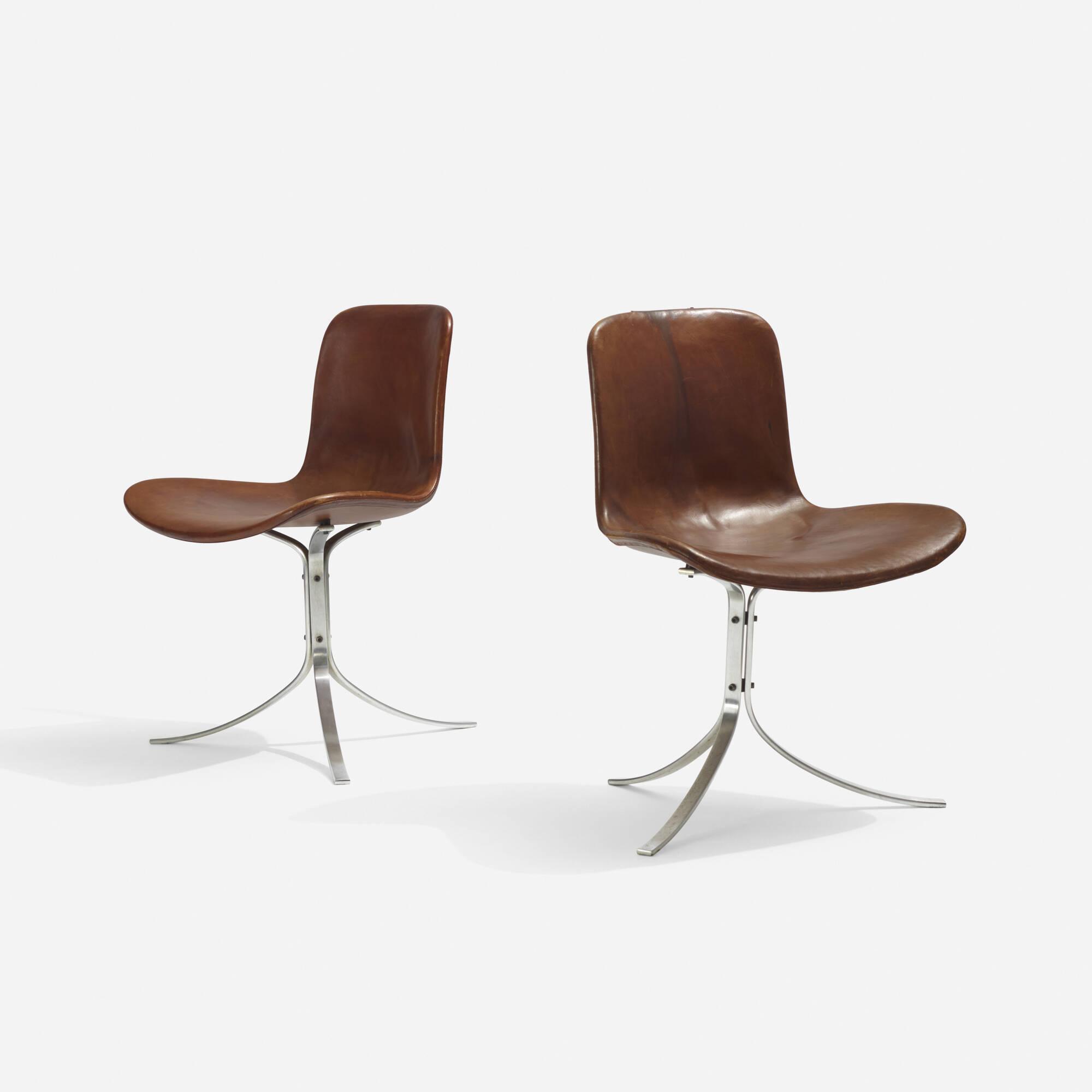 137: Poul Kjaerholm / PK 9 chairs, pair (1 of 3)