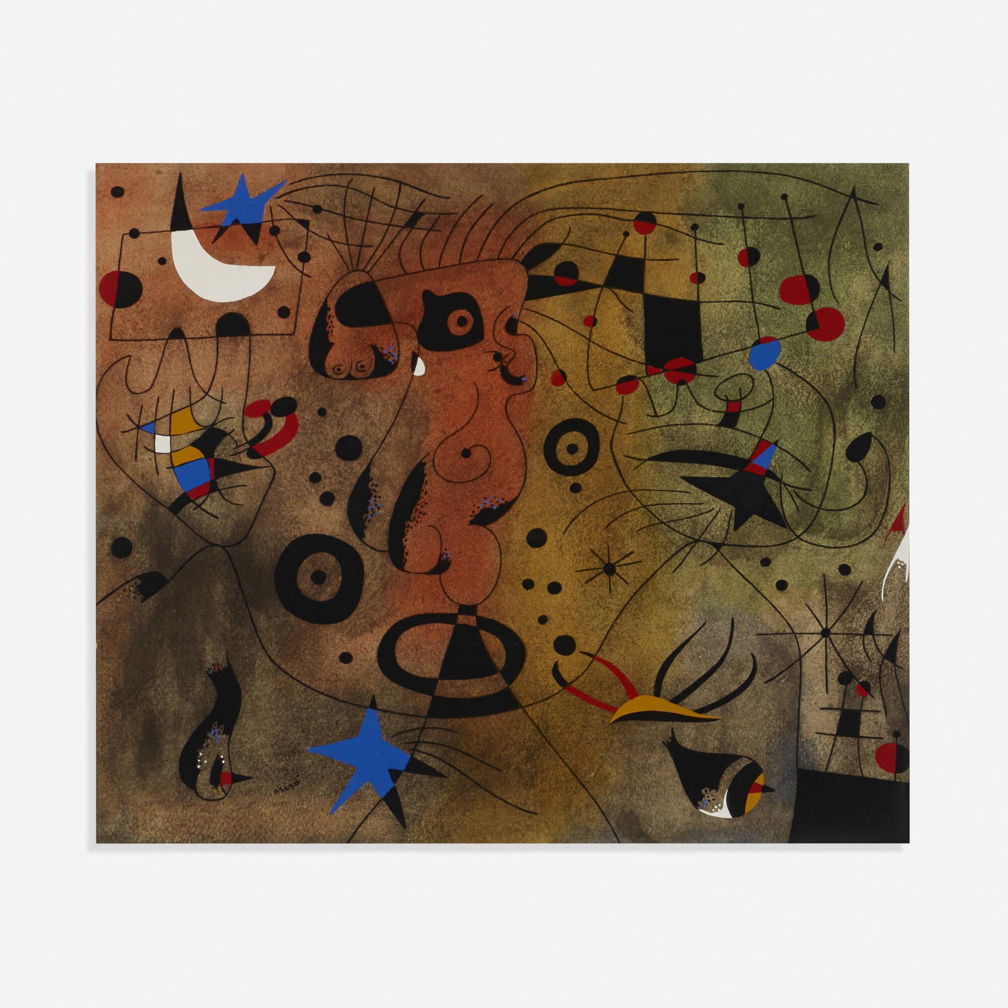 139: Joan Miró / Femme à la blonde aisselle coiffant sa chevelure à la lueur des étoiles (from the Constellations portfolio) (1 of 2)