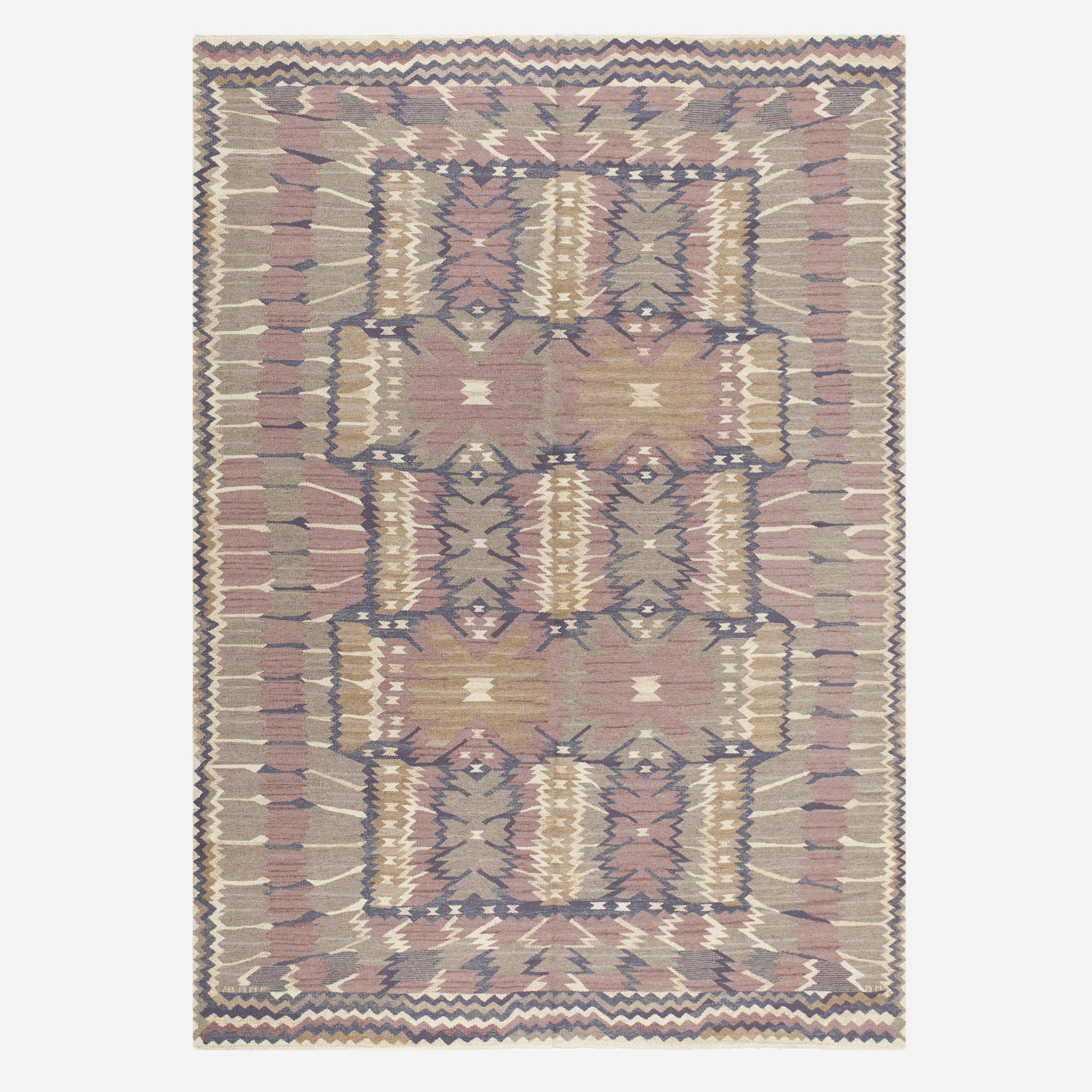139: Barbro Nilsson / Strålblomman tapestry weave carpet (1 of 2)