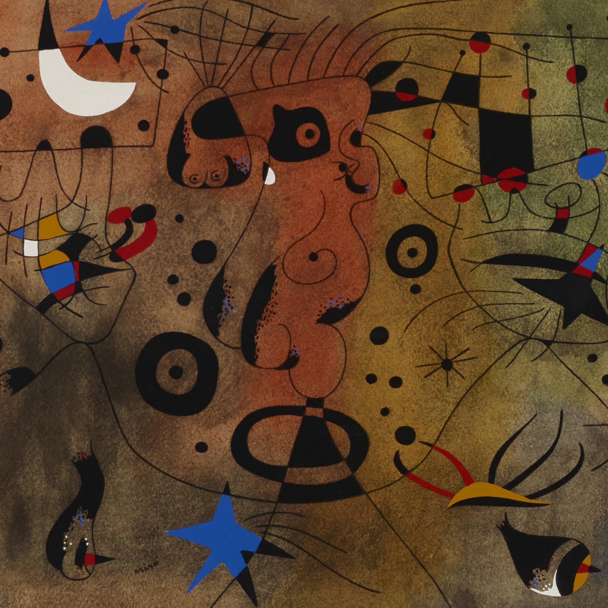 139: Joan Miró / Femme à la blonde aisselle coiffant sa chevelure à la lueur des étoiles (from the Constellations portfolio) (2 of 2)