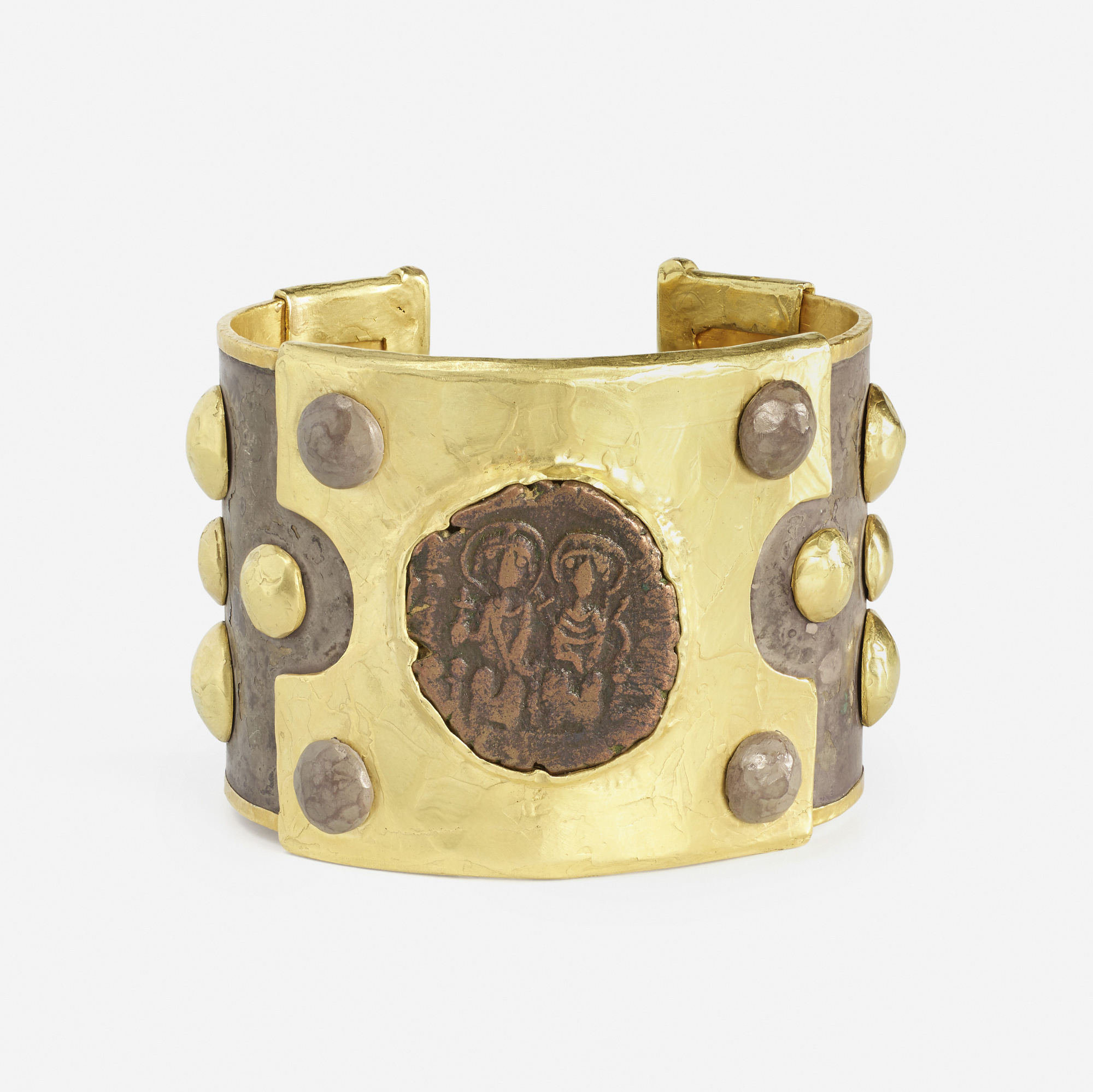 140:  / A gold and silver Byzantine coin cuff (1 of 2)