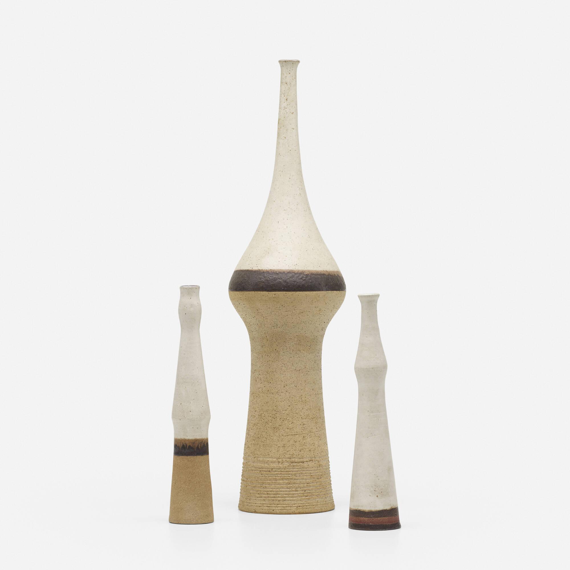 140: Bruno Gambone / vases, set of three (1 of 3)