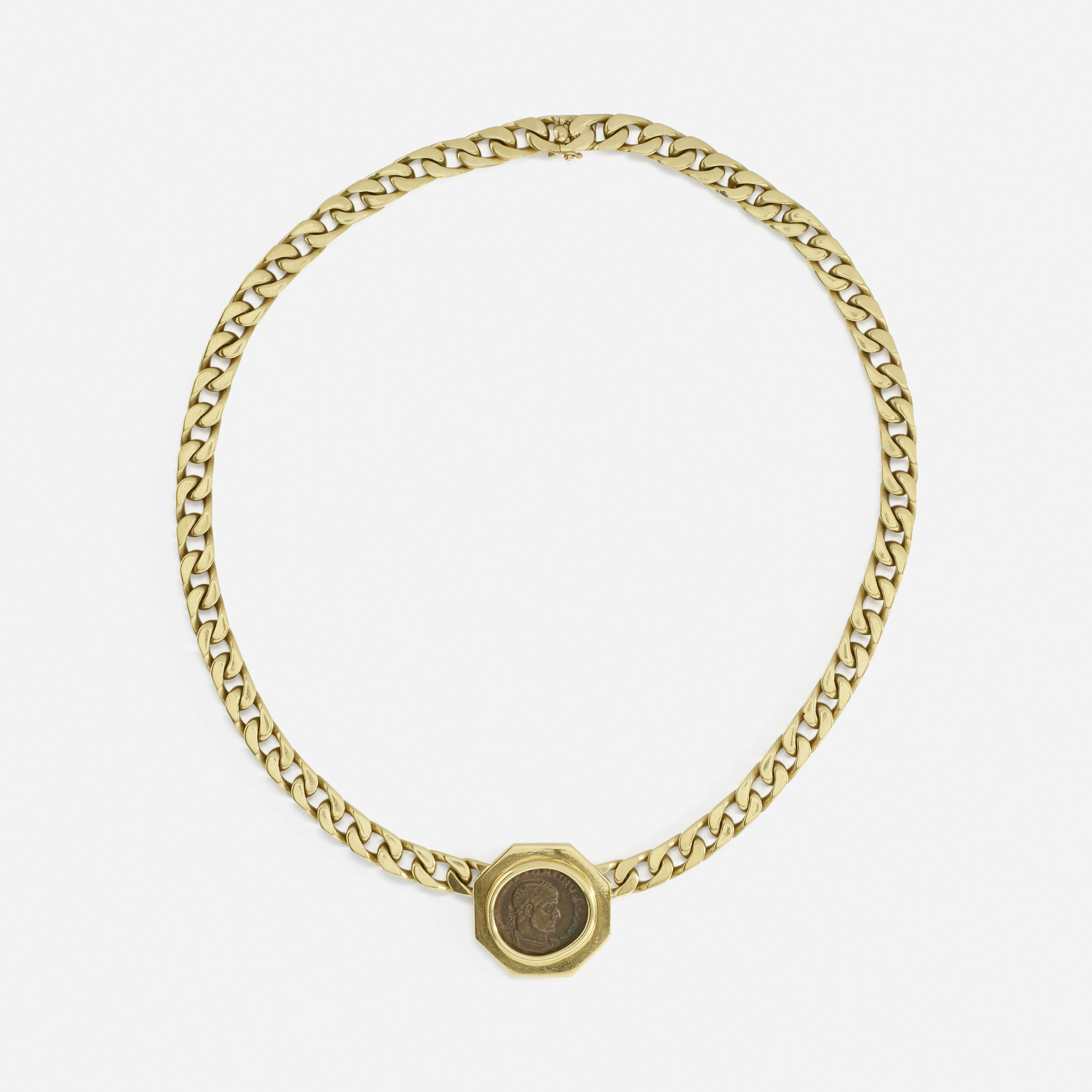 joy chain products oxidised coin roman light golden vermeil and jewellers curb oxidsed fine necklace everley london